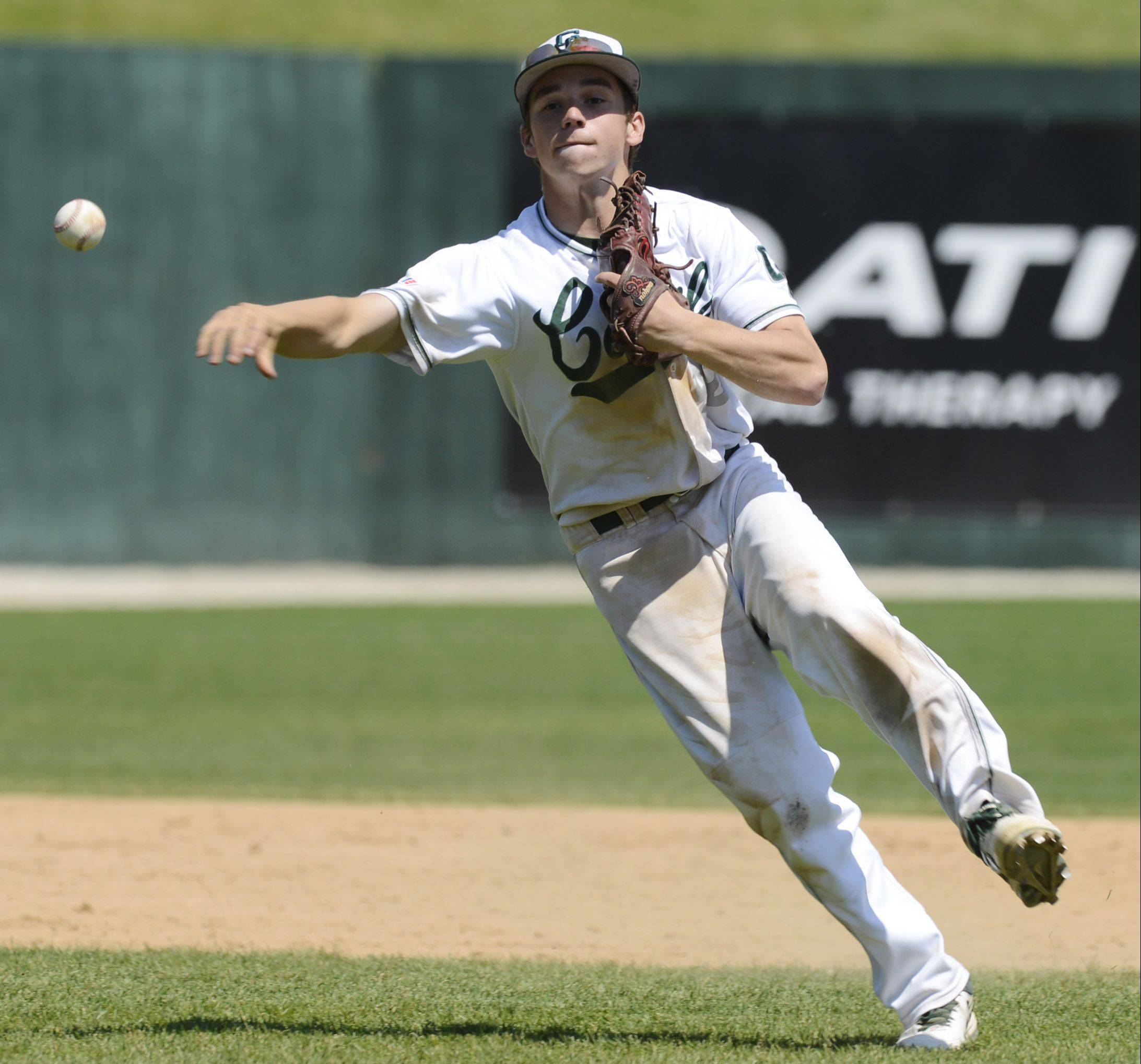 Grayslake Central's Ryan Fontana makes a throw to first during the Class 3A state baseball semifinal against St. Francis at Silver Cross Field in Joliet on Friday.