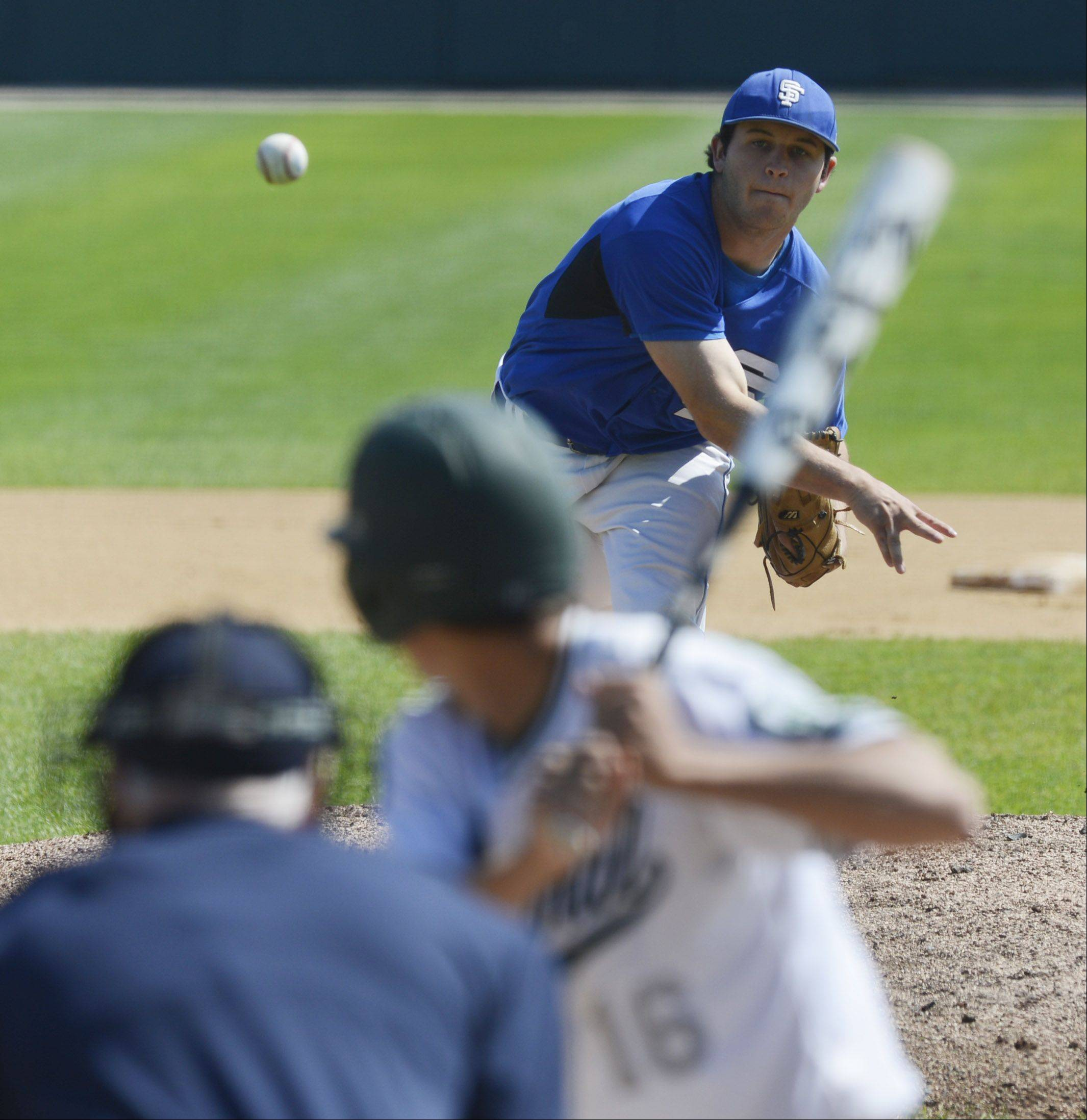 Jack Petrando of St. Francis delivers against Grayslake Central during the Class 3A state baseball semifinal at Silver Cross Field in Joliet on Friday.