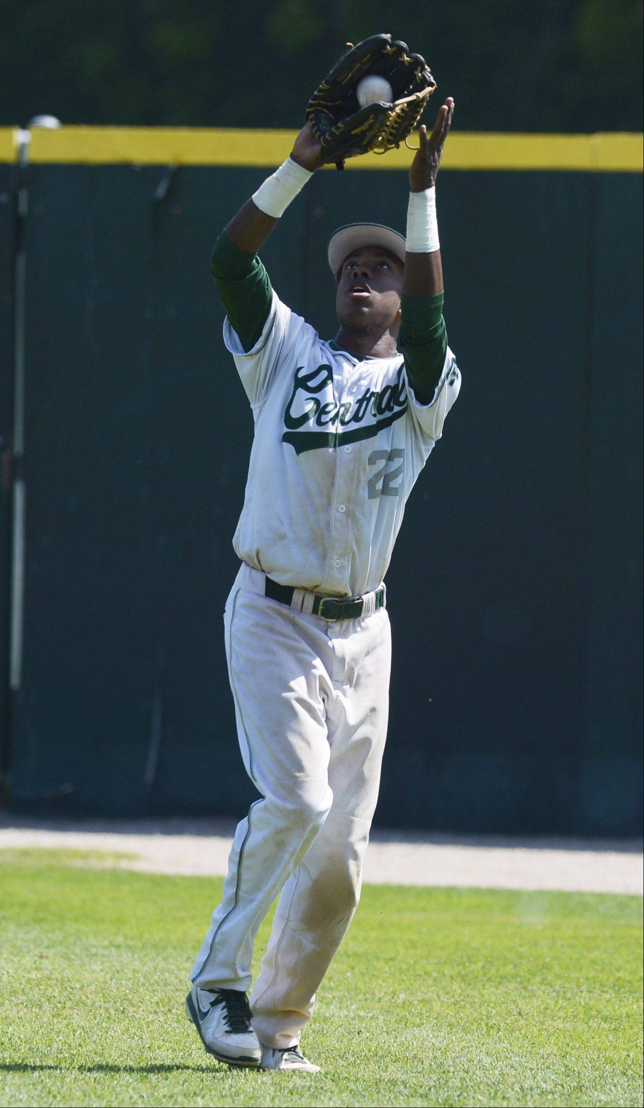 Grayslake Central right fielder Sterling Dixon hauls in a flyball during the Class 3A state baseball semifinal against St. Francis at Silver Cross Field in Joliet on Friday.
