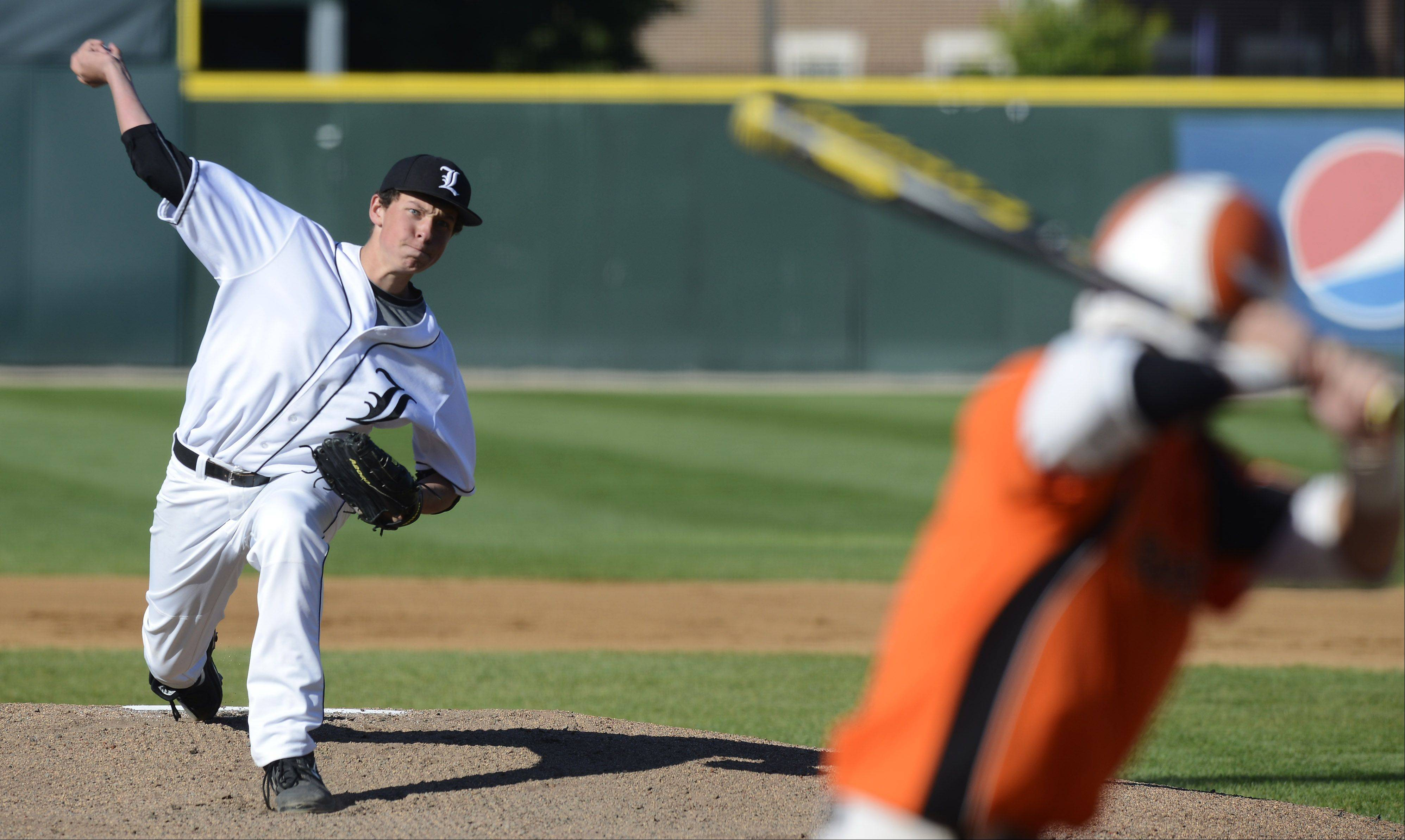 Libertyville pitcher Jeff Barton delivers.