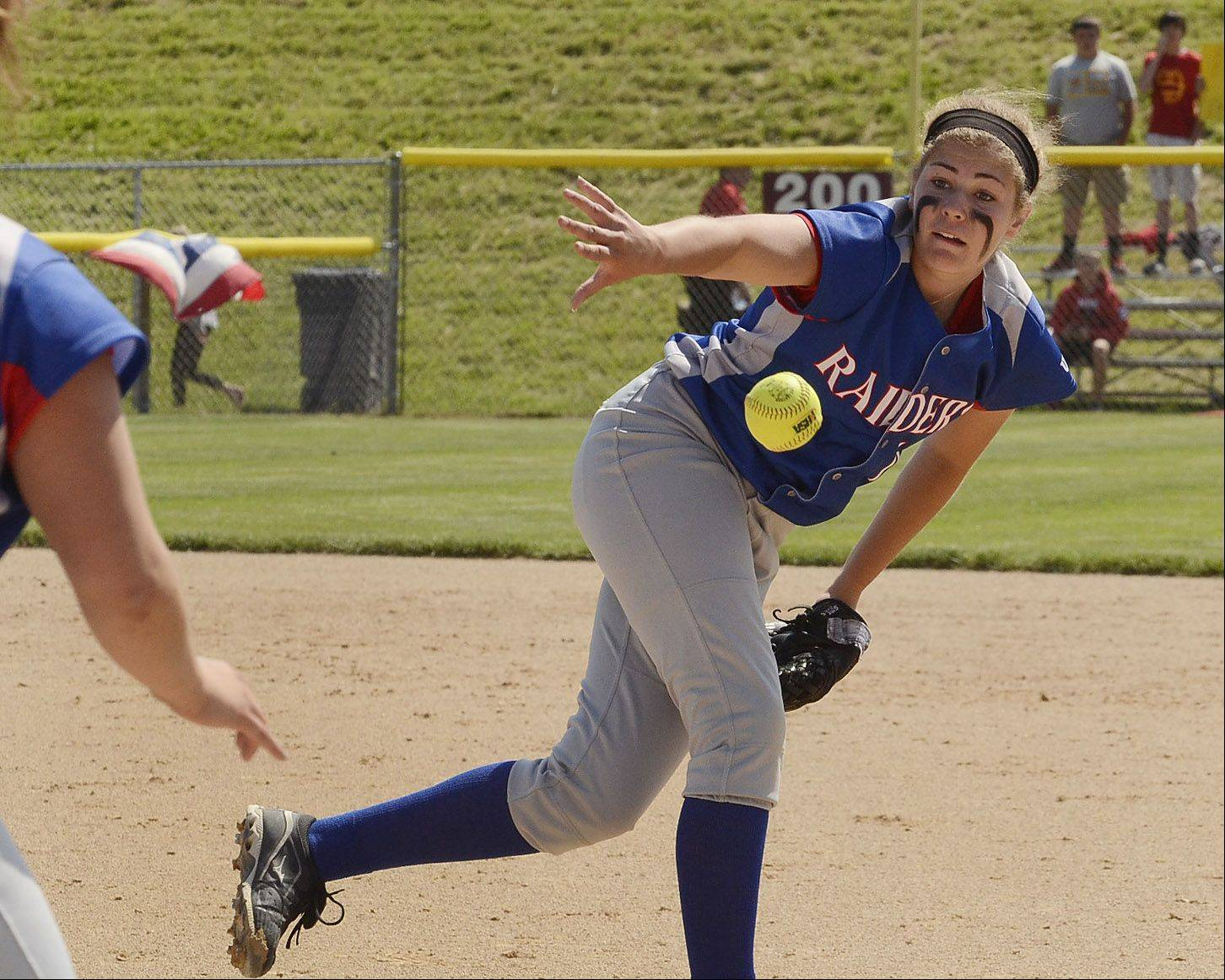 Glenbard South pitcher Jane Trzaska flips the ball to Danielle Scarpiniti in the 2nd inning of the Class 3A state semifinal between Glenbard South and Tinley Park.