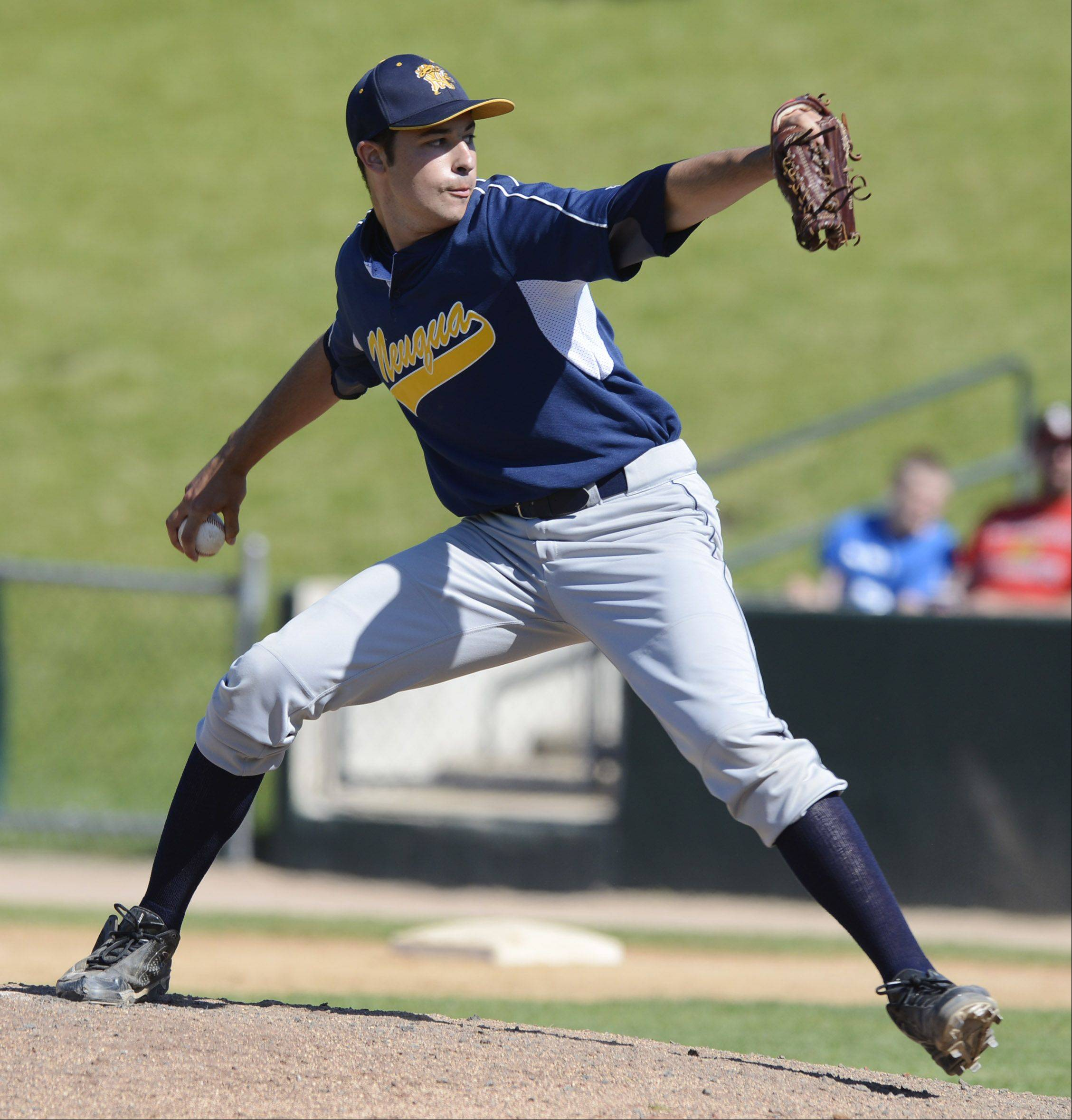 Neuqua Valley relief pitcher David Gerber delivers during the Class 4A state baseball semifinals against Mt. Carmel at Silver Cross Field in Joliet Friday.