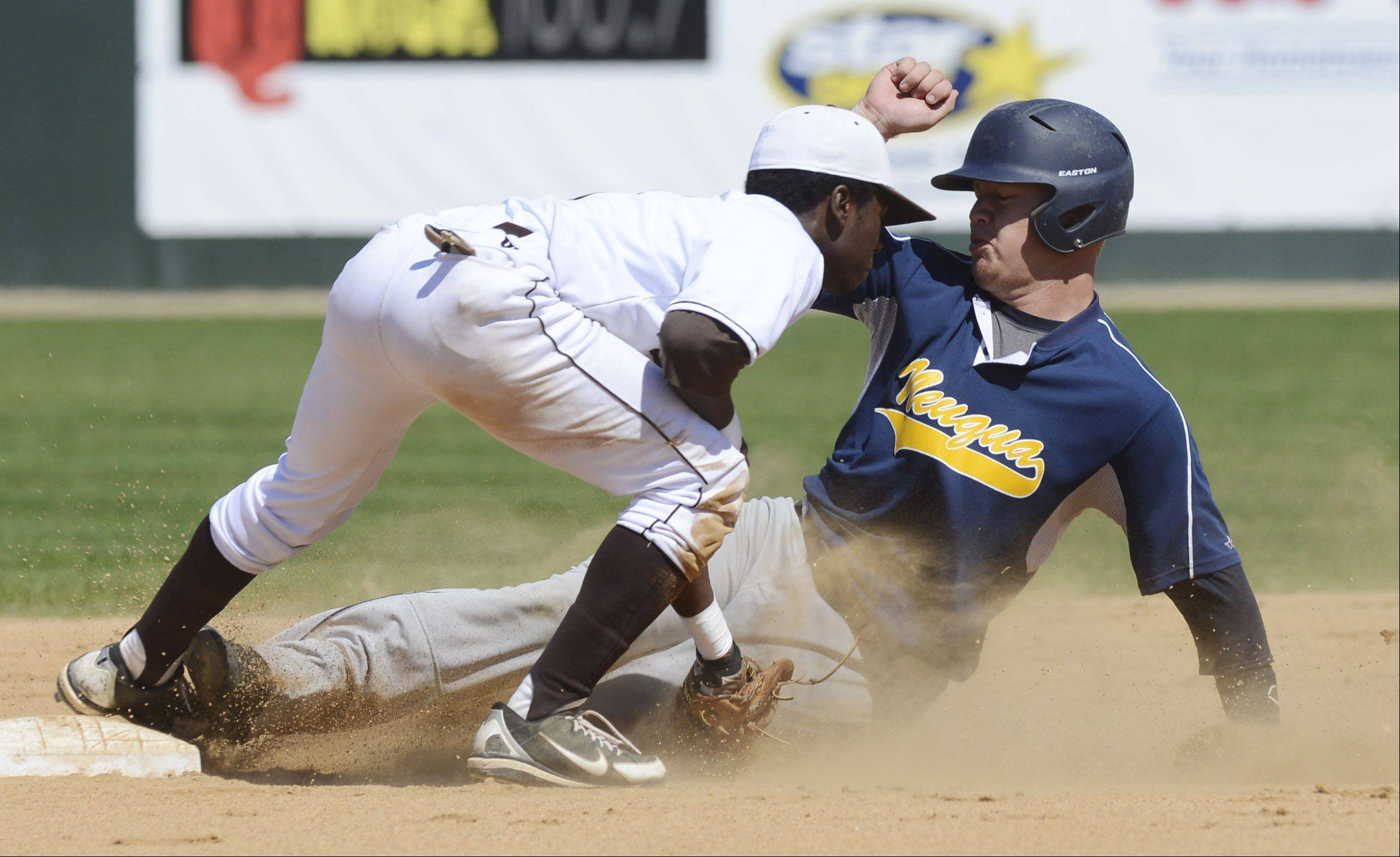 Neuqua Valley's Dylan Goss gets tagged out at second by Mt. Carmel's Jason Gasser on a first-inning steal attempt during the Class 4A state baseball semifinals at Silver Cross Field in Joliet Friday.
