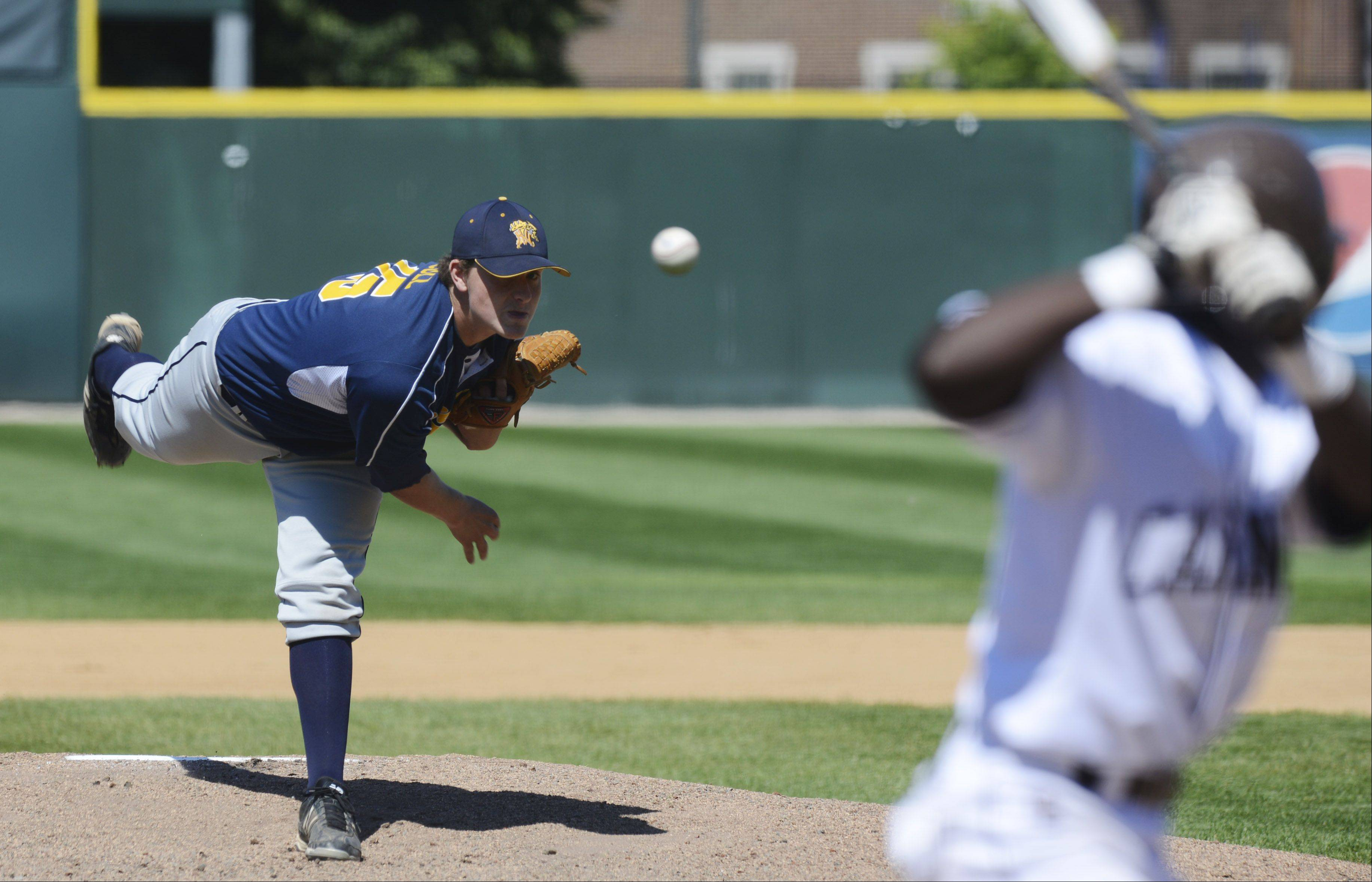 Neuqua Valley pitcher Cody Coll delivers against Mt. Carmel during the Class 4A state baseball semifinals at Silver Cross Field in Joliet Friday.