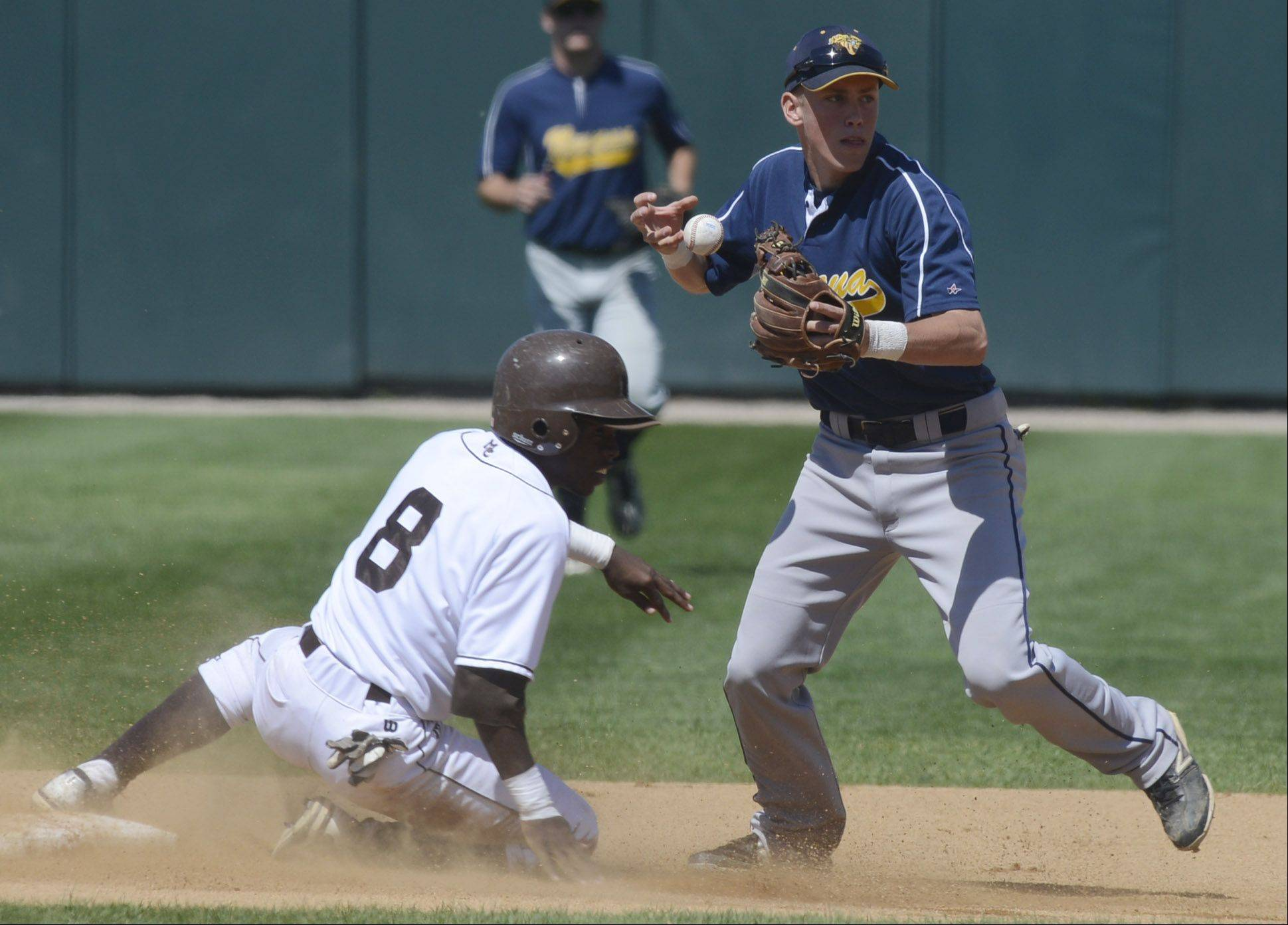 Neuqua Valley shortstop Matt Wollnik looks toward first after forcing Mt. Carmel's Ako Thomas at second during the Class 4A state baseball semifinals at Silver Cross Field in Joliet Friday.