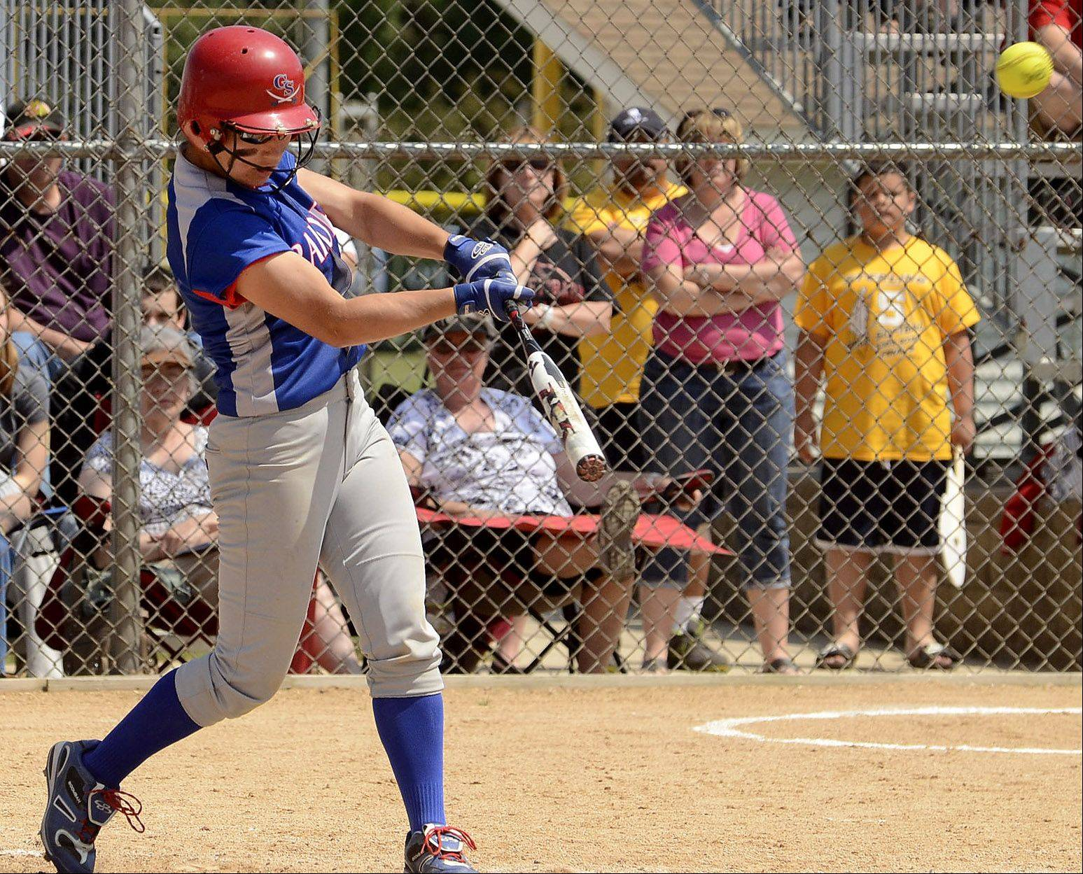 Glenbard South's Hannah Taylor connects with a two-run home run in the 4th inning.