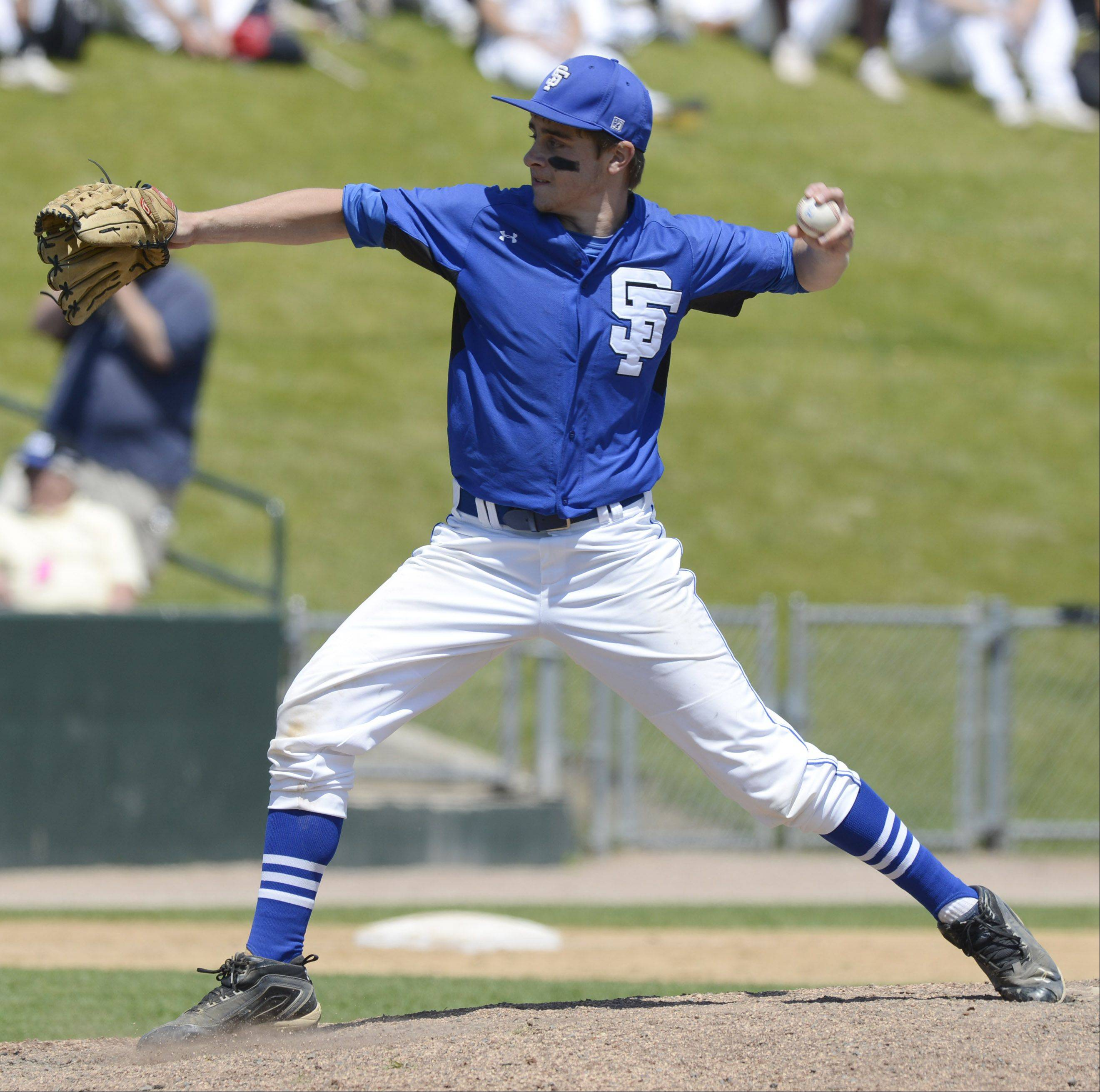 St. Francis relief pitcher Andrew Brundage deivers during the Class 3A state baseball semifinal against Grayslake Central at Silver Cross Field in Joliet Friday.