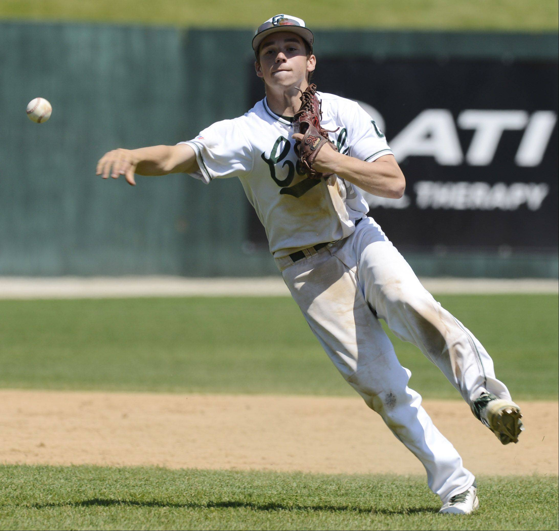 Grayslake Central's Ryan Fontana makes a throw to first during the Class 3A state baseball semifinal against St. Francis at Silver Cross Field in Joliet Friday.