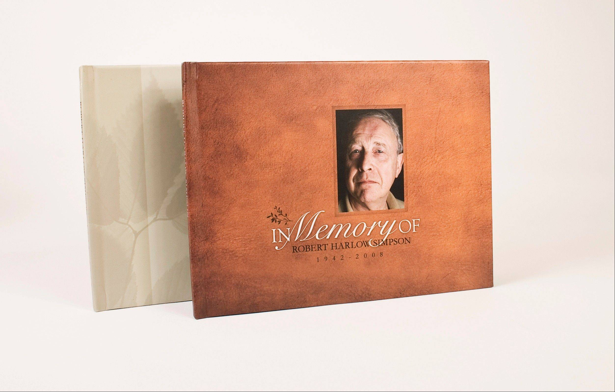"A custom cover of an ""In Memory of"" album. Albums like this can be used to capture a family member's personal history in photos and words."