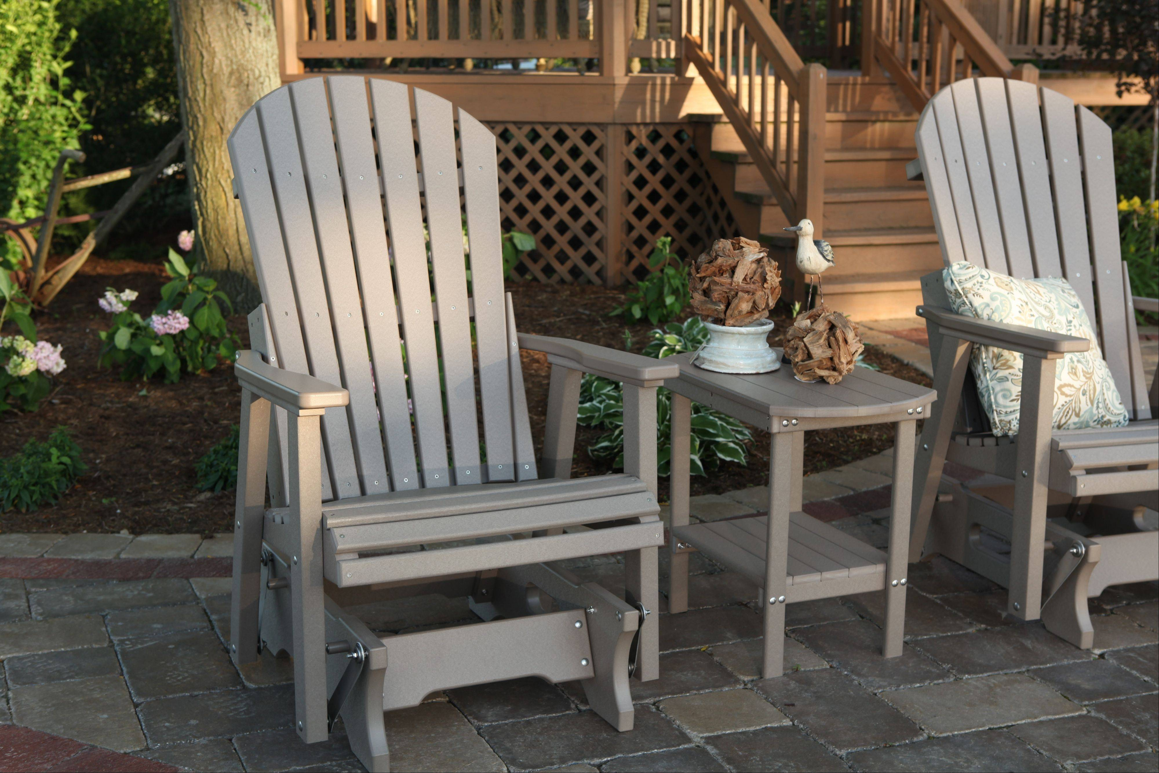 Adirondack-style rockers are among the newer seating options gaining popularity in outdoor spaces throughout the suburbs.
