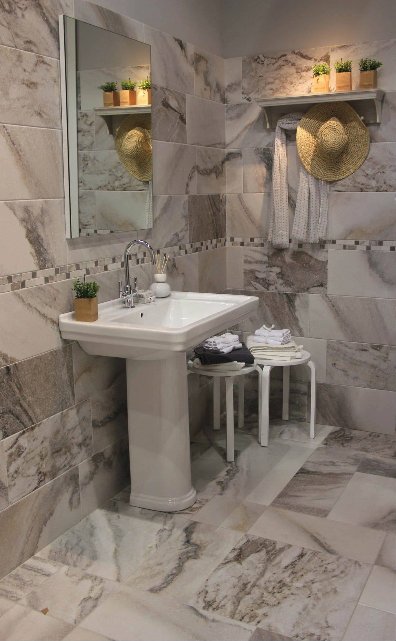 The look of marble is done in ceramic tiles by Keraben.