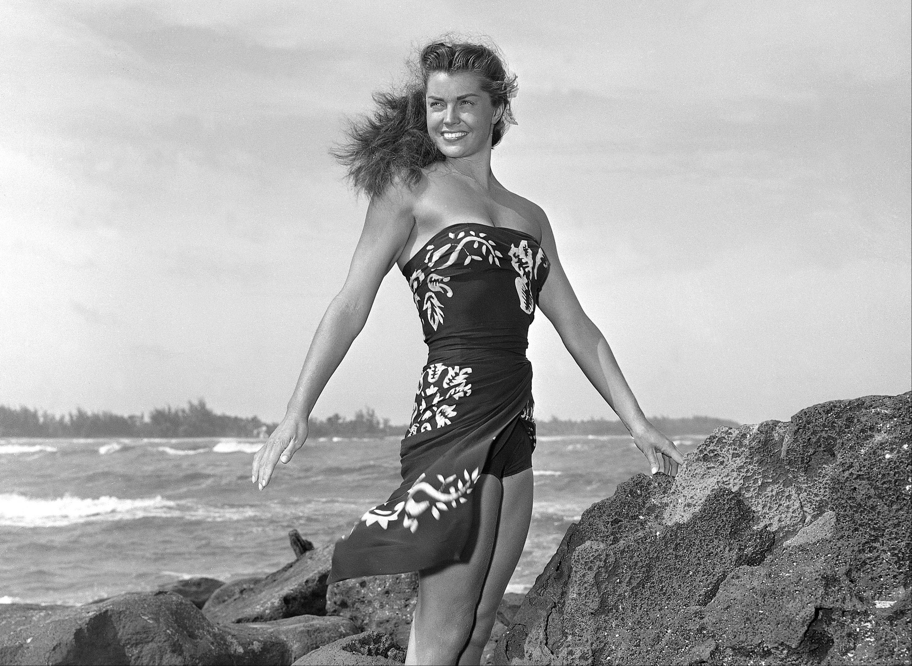 "Esther Williams on location for the film ""Pagan Love Song."""