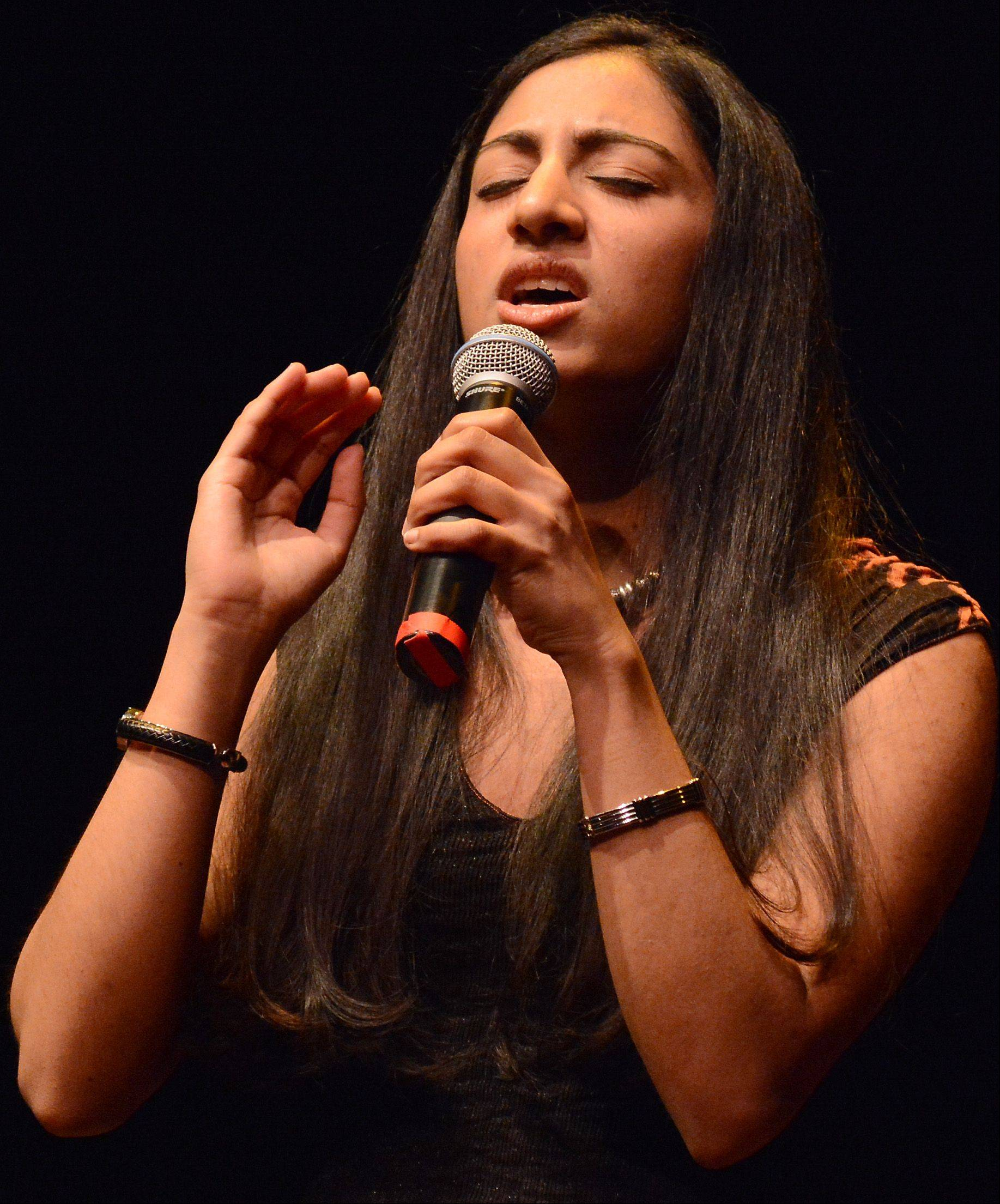 Divya Pillai of Oak Brook performs at the auditions for the Suburban Chicago's Got Talent competition at the Metropolis Performing Arts Centre in Arlington Heights Saturday.