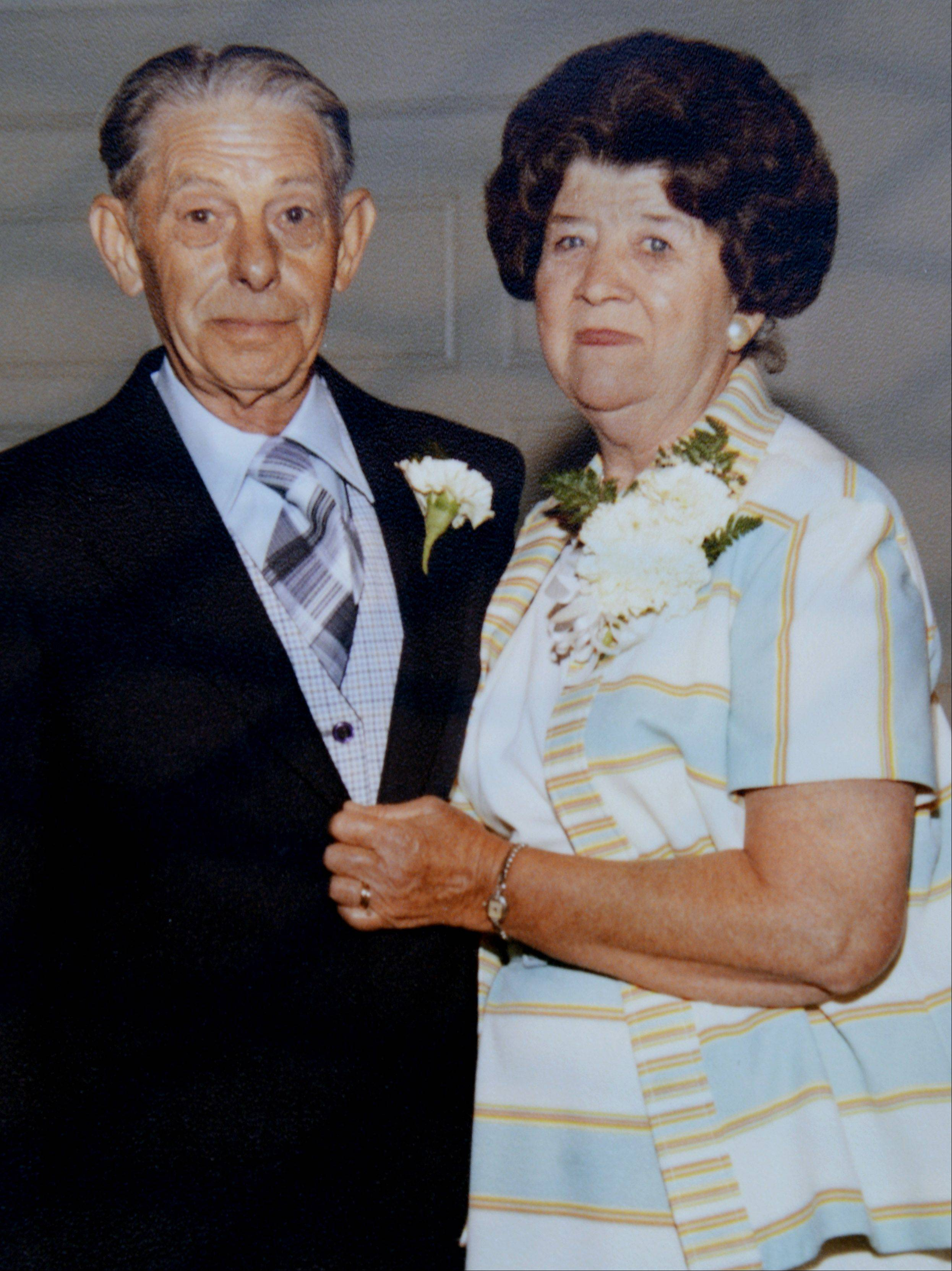 "A photo of Lena Agnes ""Aggie"" Petzinger and her late husband, John, in 1979."