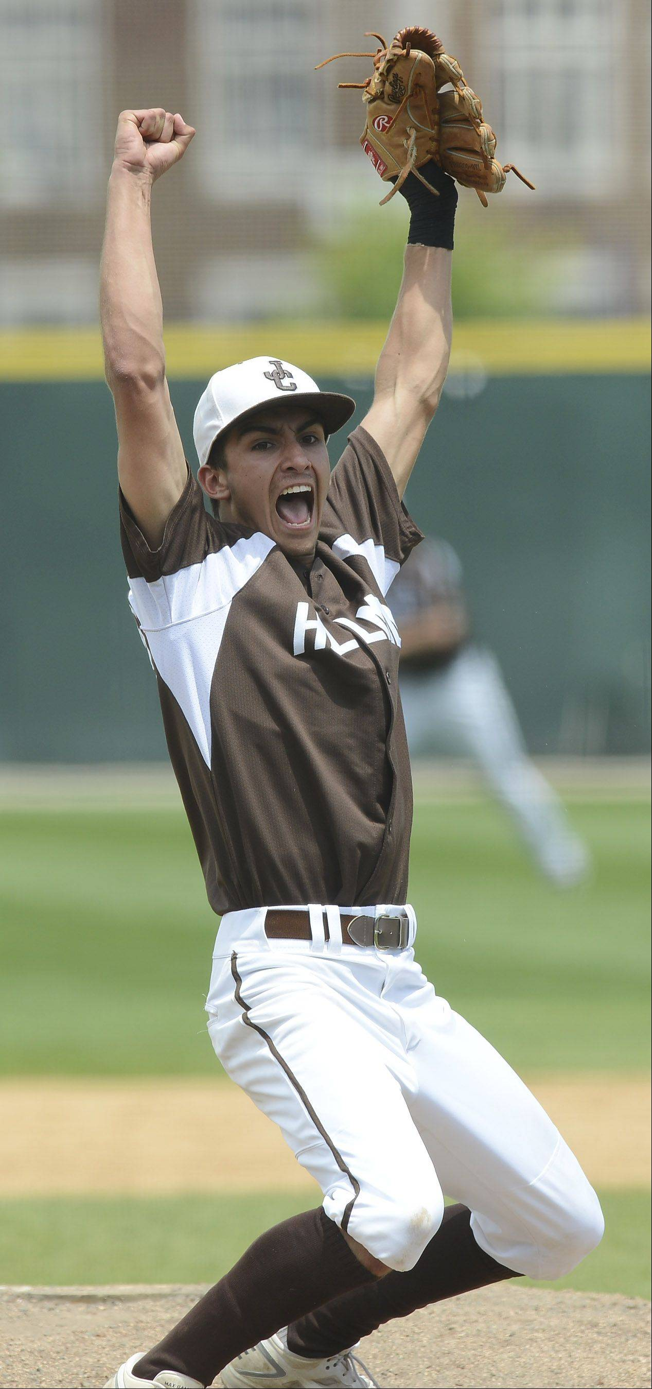 Joliet Catholic pitcher Nick Dalesandro reacts after getting the final out of his team's victory over St. Francis during the Class 3A state baseball championship game at Silver Cross Field in Joliet Saturday.