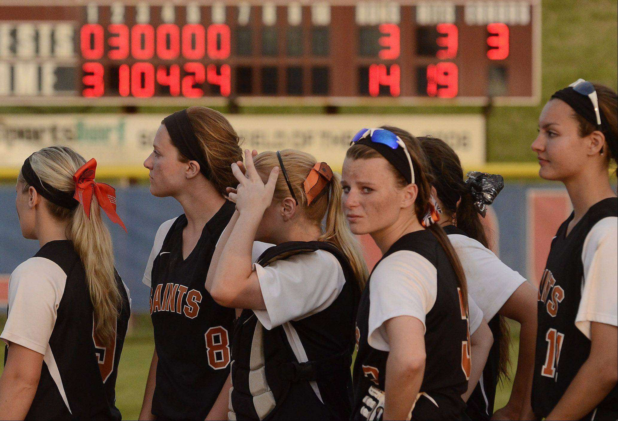 The scoreboard says it all, St. Charles East gets blown out by Minooka 14-3 in the Class 4A softball championship game.