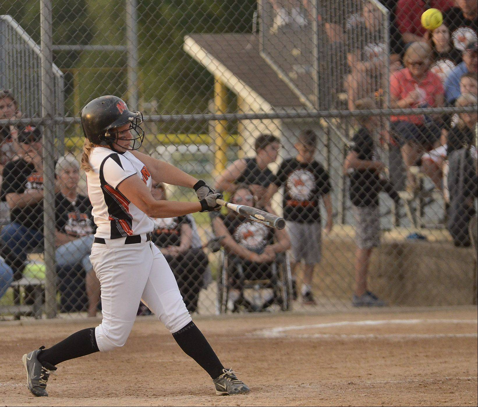 Minooka's Rachel May hits the game winning home run against St. Charles East in the Class 4A softball championship game.
