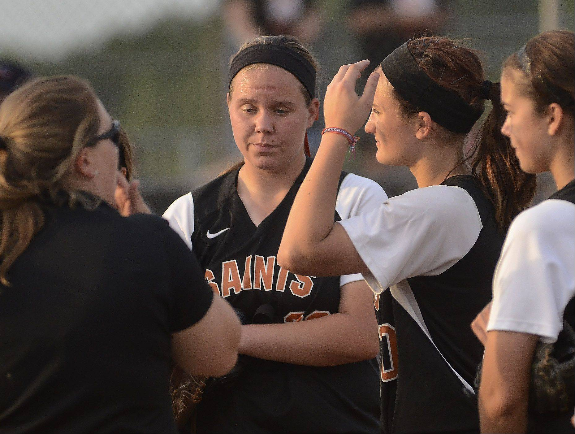 St. Charles head coach Kelly Horan tries to rally her team while losing to Minooka in the Class 4A softball championship game.