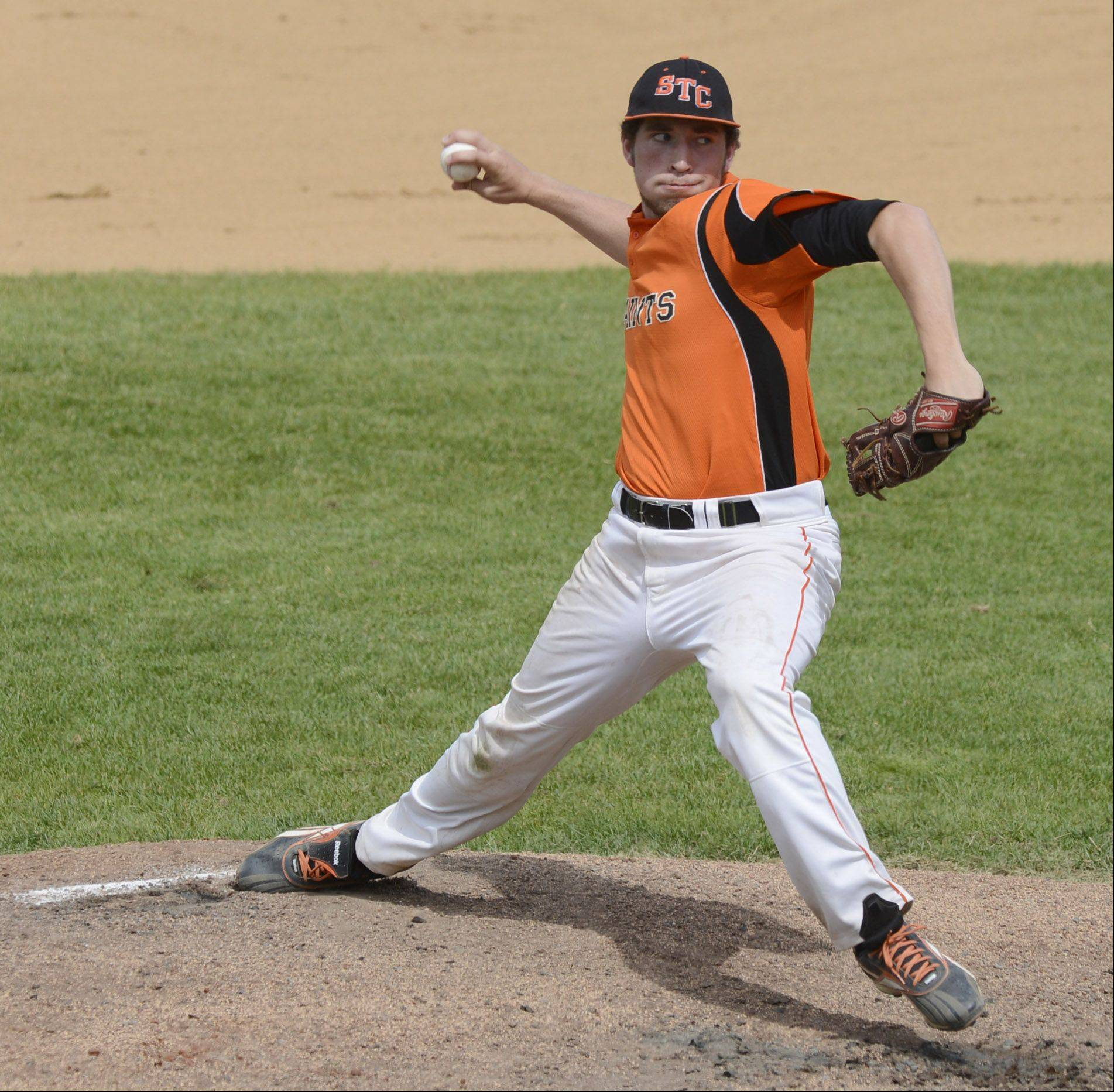 St. Charles East pitcher Matt Starai delivers during the Class 4A baseball third-place game against Neuqua Valley at Silver Cross Field in Joliet on Saturday.