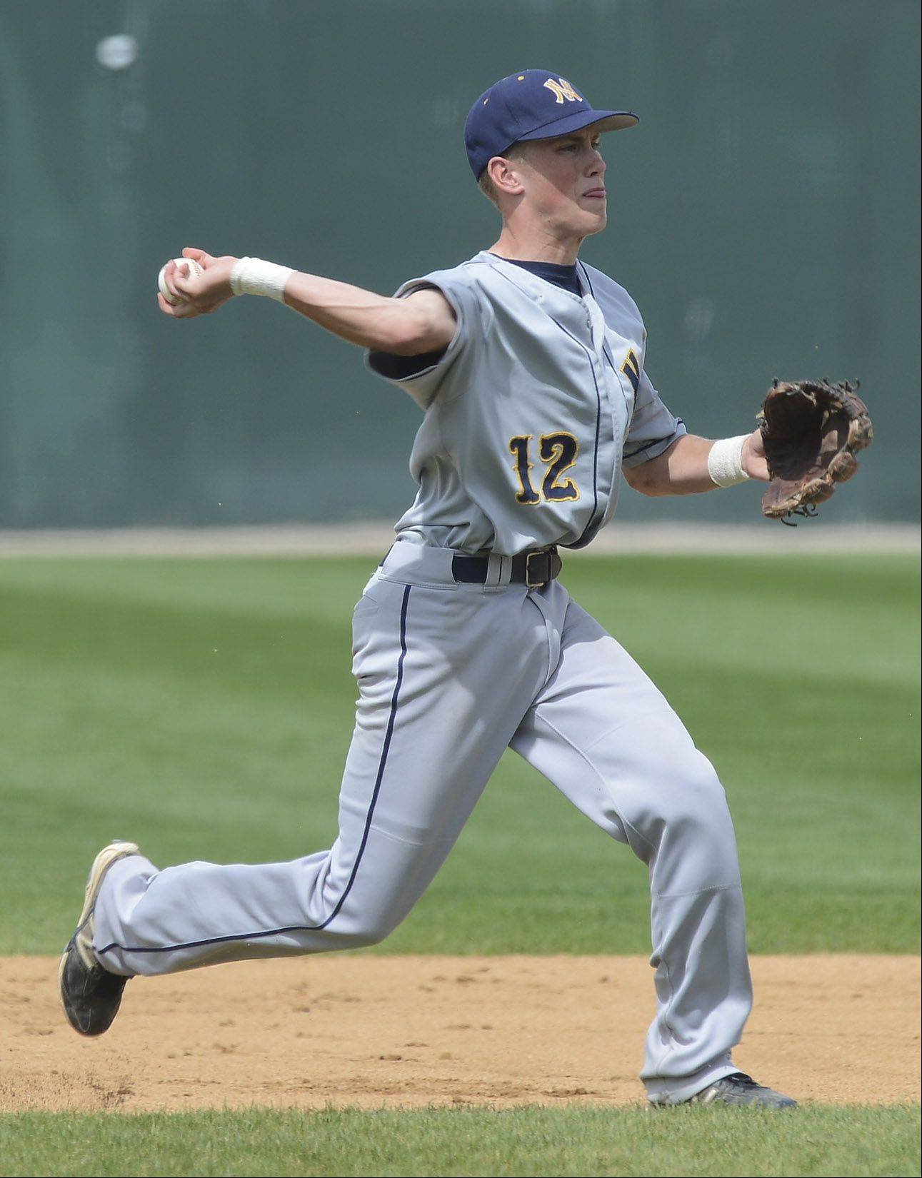 Neuqua Valley shortstop Matt Wollnik makes a throw to first during the Class 4A baseball third-place game at Silver Cross Field in Joliet on Saturday.