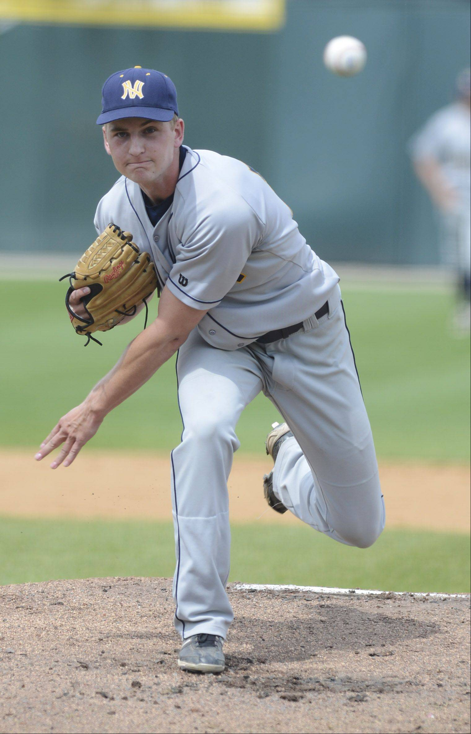 Neuqua Valley's Danny Mokrzycki delivers a pitch during the Class 4A state baseball third-place game against St. Charles East Saturday at Silver Cross Field in Joliet.