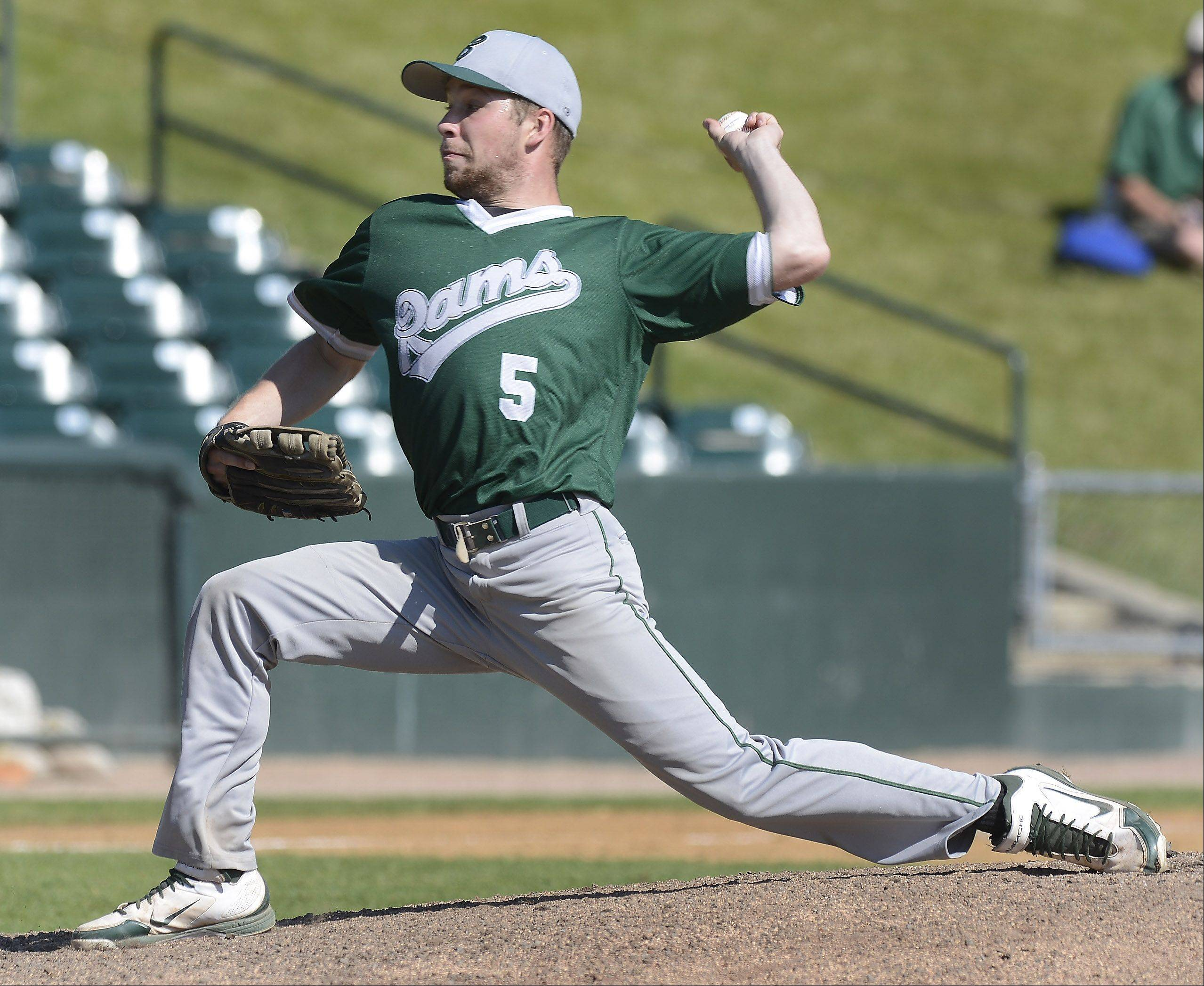 Grayslake Central pitcher Kevin Peloza delivers a pitch during the Class 3A state baseball third-place game against Mt. Vernon at Silver Cross Field in Joliet Saturday.