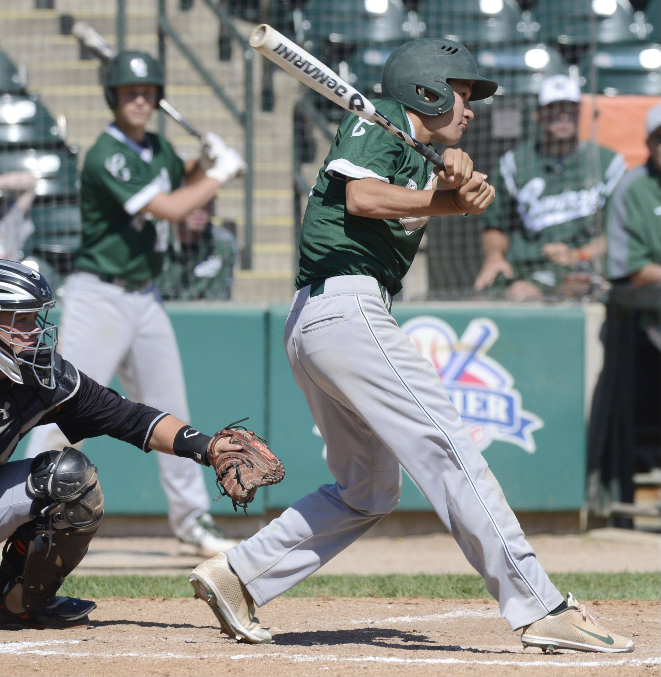 Grayslake Cebtral's Pat Burba drives home the game's only run with a single during the Class 3A state baseball third-place game against Mt. Vernon at Silver Cross Field in Joliet Saturday.
