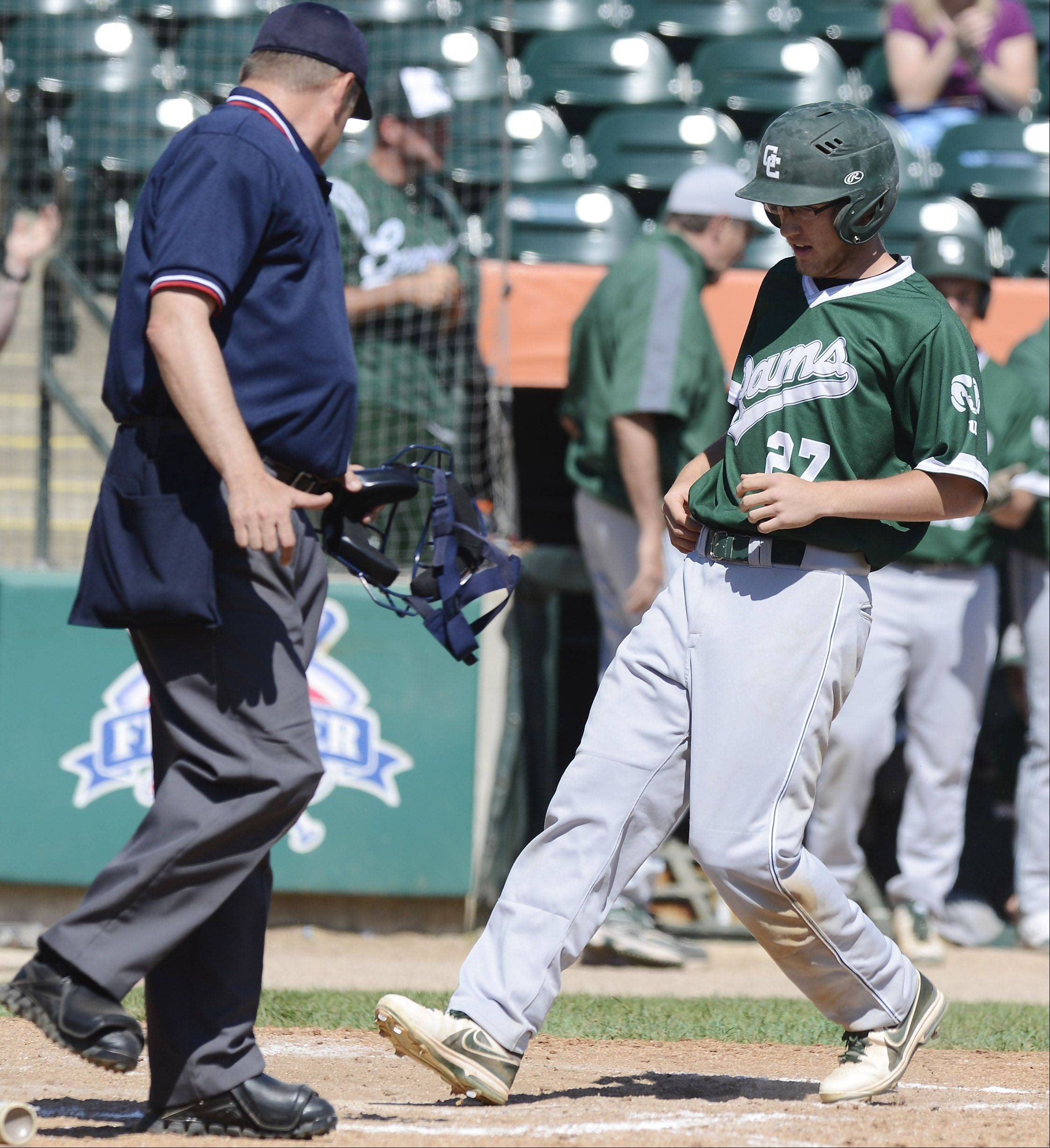 Grayslake Central pinch-runner Danny Reed scores the game's only run during the Class 3A state baseball third-place game against Mt. Vernon at Silver Cross Field in Joliet Saturday.