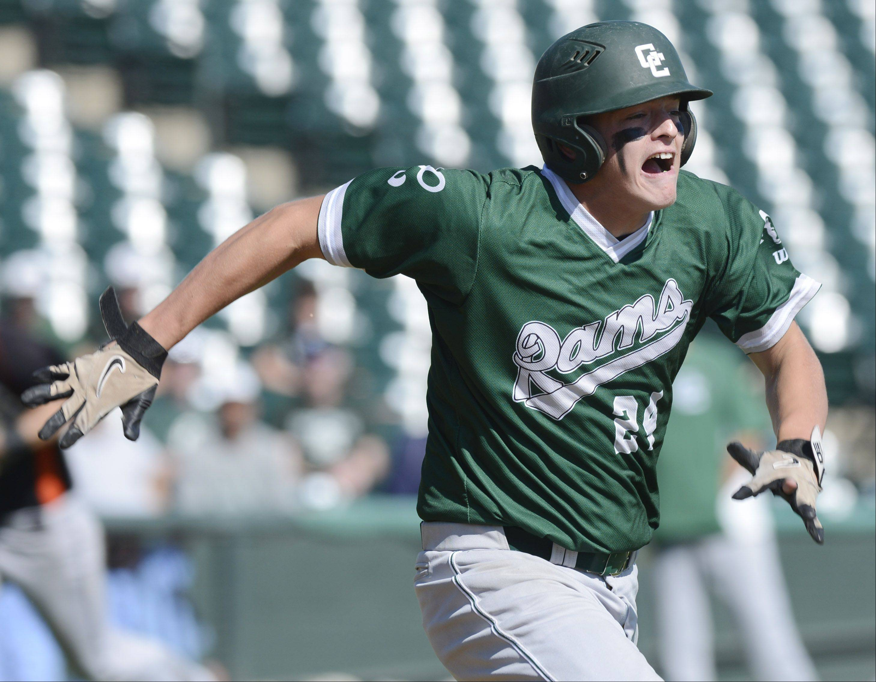 Grayslake Central's Kyle Clark hustles to the base on an infield groundout during the Class 3A state baseball third-place game at Silver Cross Field in Joliet Saturday.