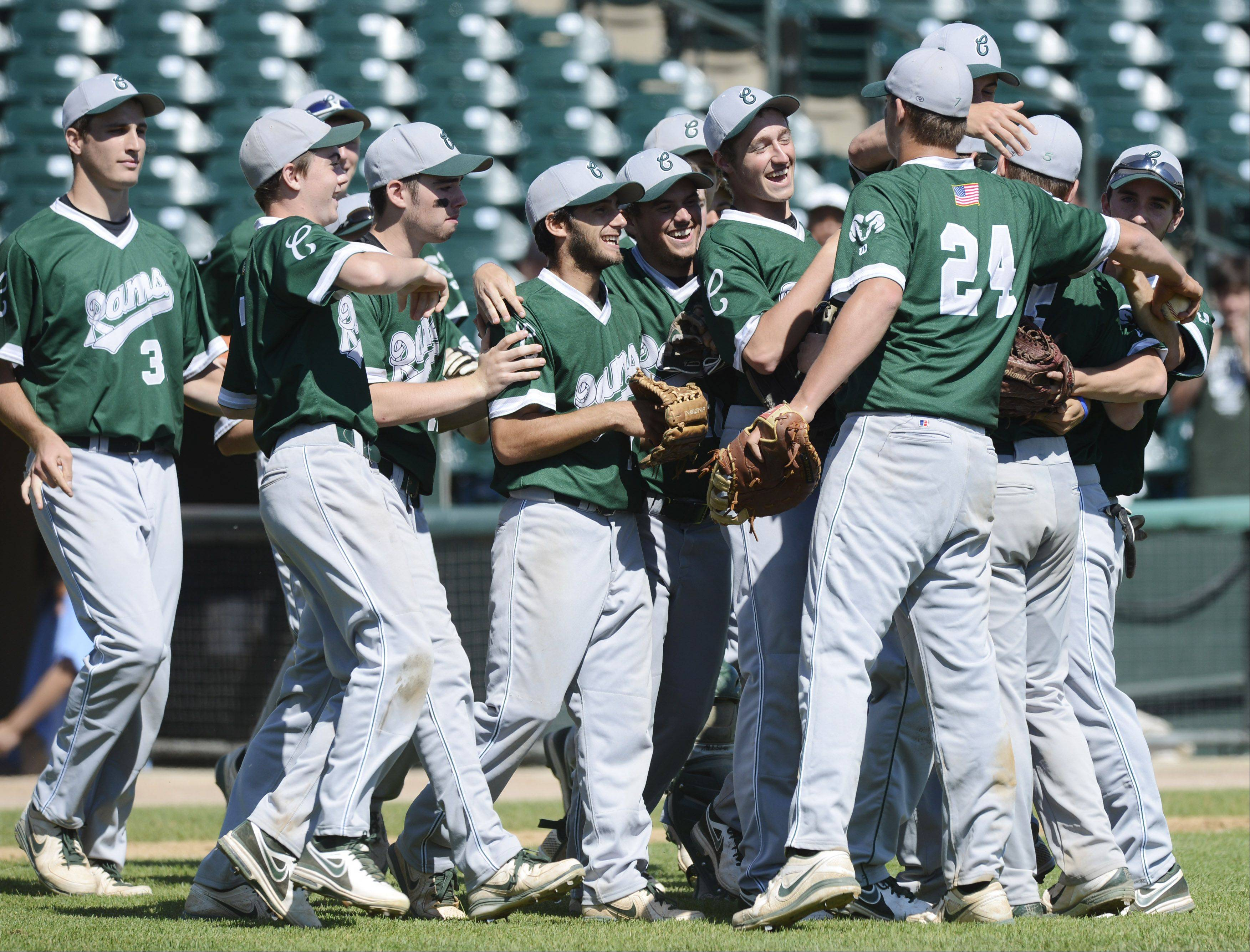 Grayslake Central players celebrate after their team beat Mt. Vernon 1-0 during the Class 3A state baseball third-place game at Silver Cross Field in Joliet Saturday.