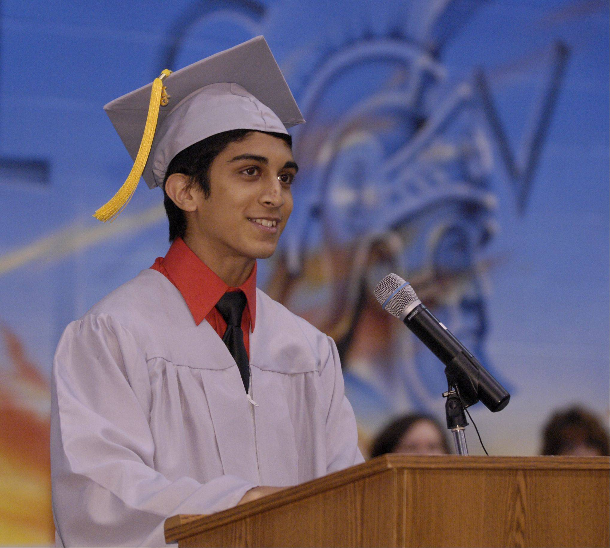 IMuzammil Ali speaks during the Willowbrook High School graduation on Sunday, June 9 at the school.