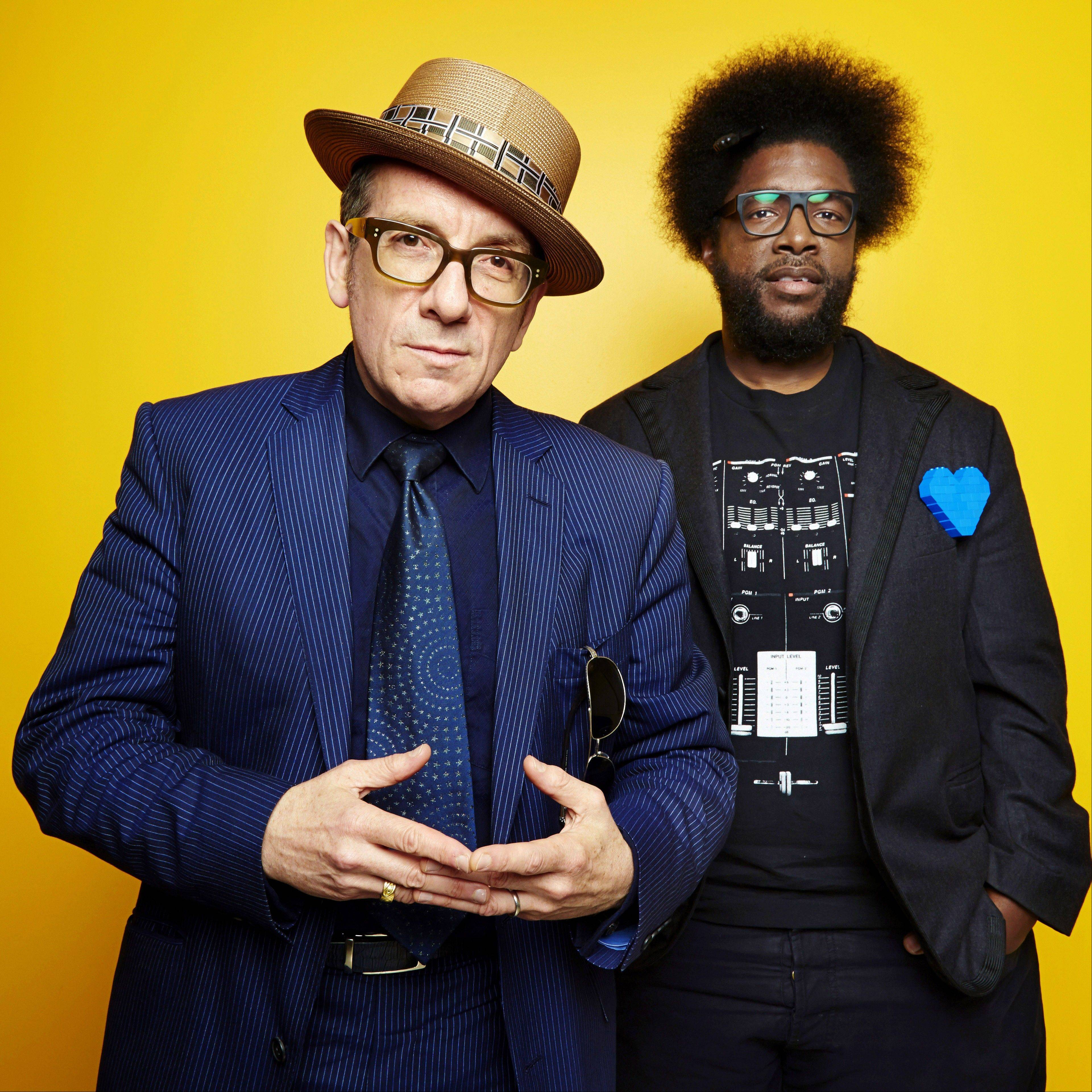 "English singer-songwriter Elvis Costello, left, and drummer Ahmir ""Questlove"" Thompson of The Roots secretly recorded their upcoming album, ""Wise Up Ghost."""