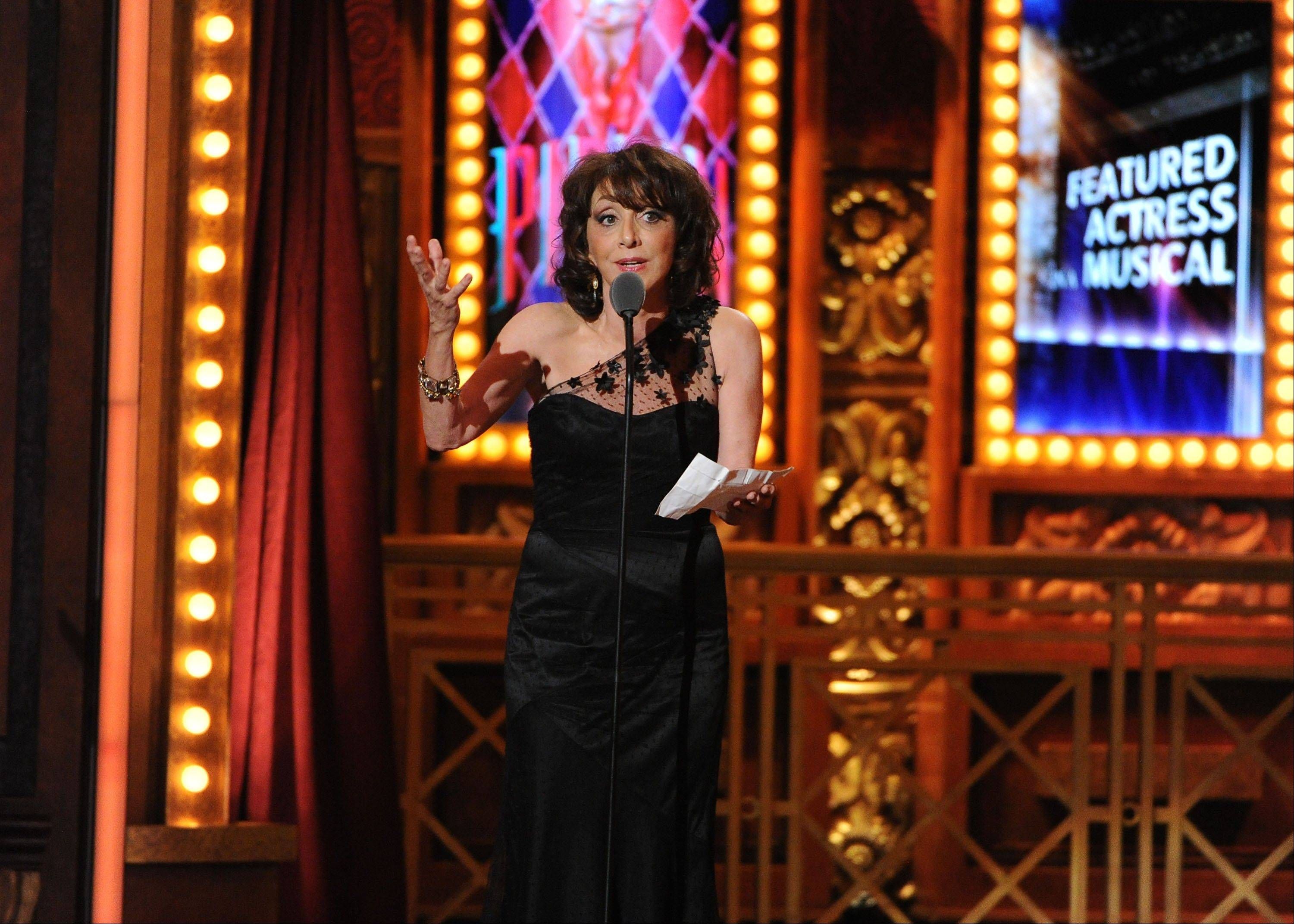 "Andrea Martin receives an award for best featured actress in a musical for her performance in ""Pippin"" at the 67th Annual Tony Awards, on Sunday, June 9, 2013 in New York."