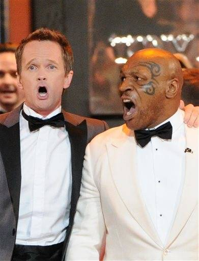 Tonys host Neil Patrick Harris gets a little help with his opening number from Mike Tyson