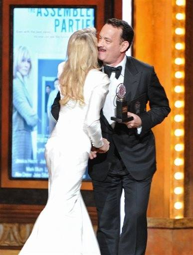 "Judith Light accepts her Tony Award from actor Tom Hanks who is starring in Nora Ephron's ""Lucky Guy."""
