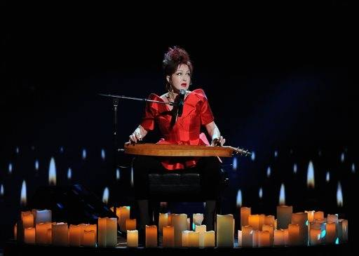 "Cyndi Lauper performs ""True Colors"" during the In Memoriam portion of the Tony Awards."
