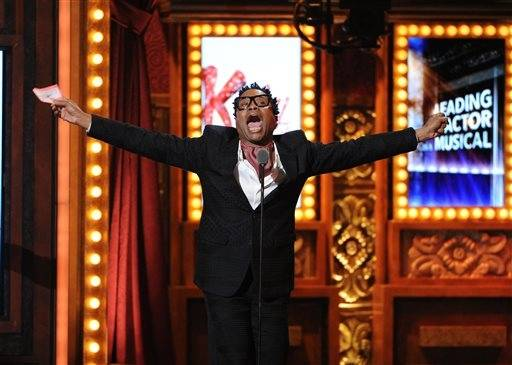 "Billy Porter accepts the Tony for best actor in a musical for his role in ""Kinky Boots."""