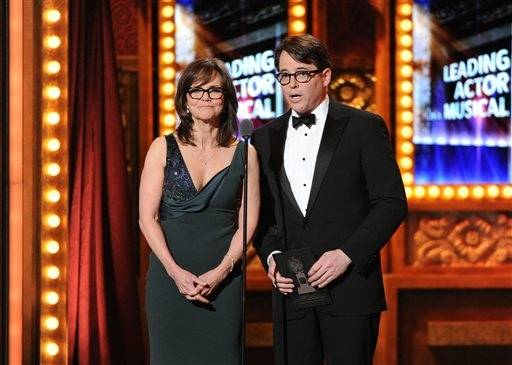 Actors Sally Field and Matthew Broderick present an award during the Tonys.
