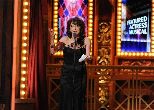 "Comedian and actress Andrea Martin accepts the Tony for her performance in ""Pippin."""