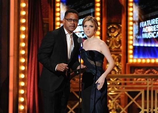 Actors Cuba Gooding Jr. and Anna Kendrick hit the stage to present during the Tonys.