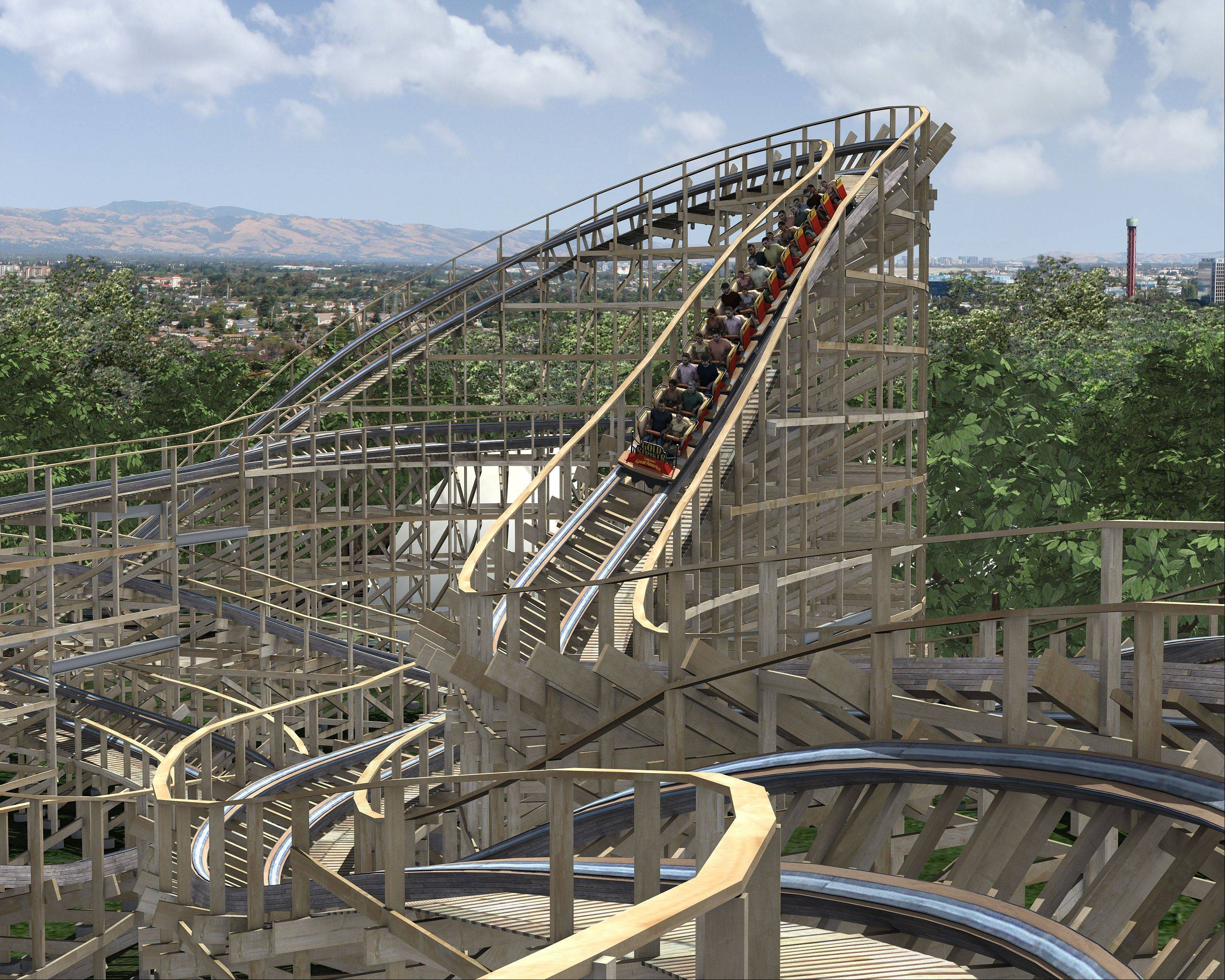 The new roller coaster Gold Striker will open this summer at the Great America in Santa Clara, Calif. The wooden coaster will be 108 feet tall and will go more than 50 mph.