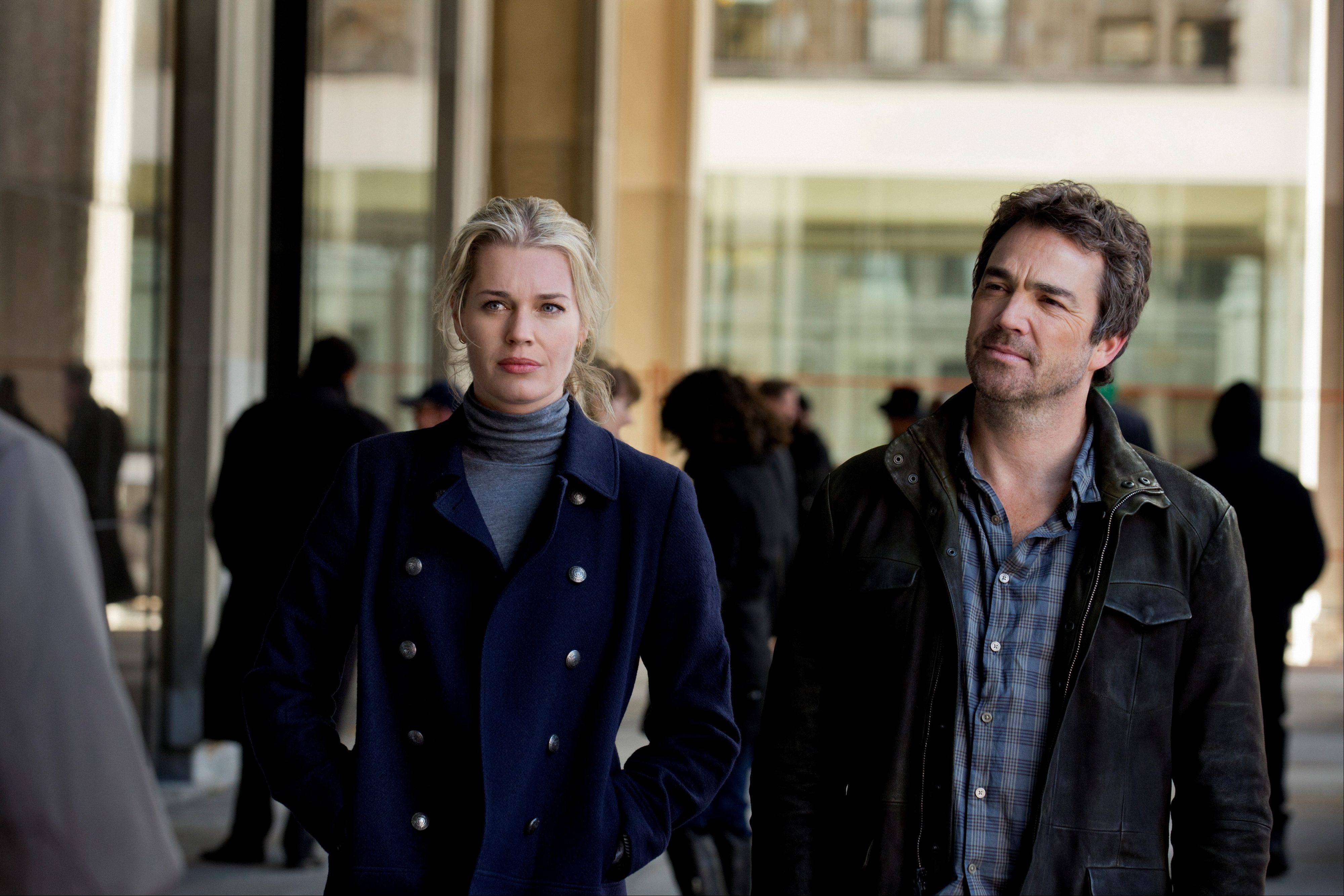 "Former Secret Service agents (Rebecca Romijn and Jon Tenney) partner up in TNT's ""King & Maxwell,"" premiering Monday, June 10."