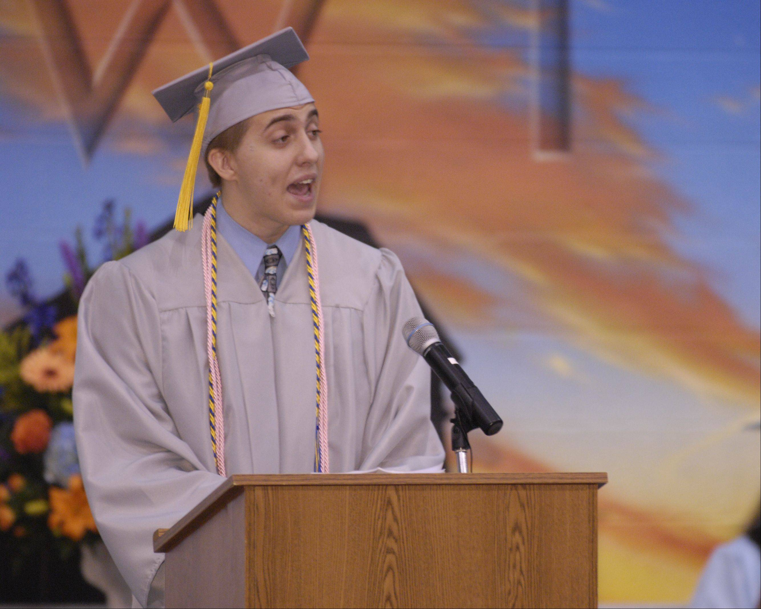 Co-President, Class of 2013 Nicholas Baumann speaks during the Willowbrook High School graduation on Sunday, June 9 at the school.