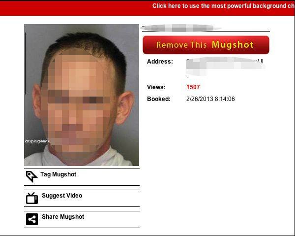 This screenshot shows a website that posts booking photos from DuPage County and accepts money to remove them. The photo has been altered to protect the identity of the subject.