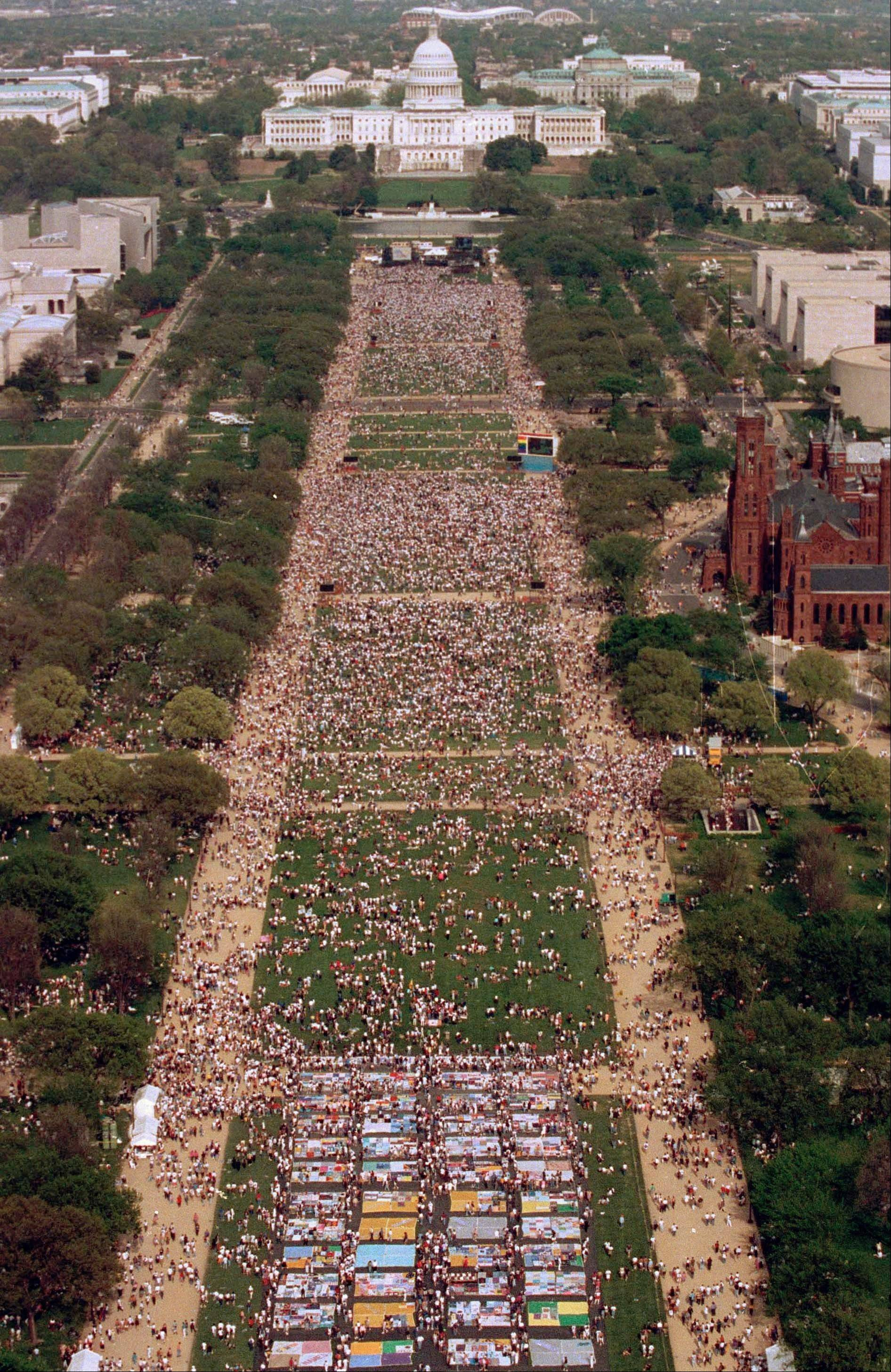 An estimated 300,000 people gather for the National March on Washington for Gay and Lesbian Rights in Washington.