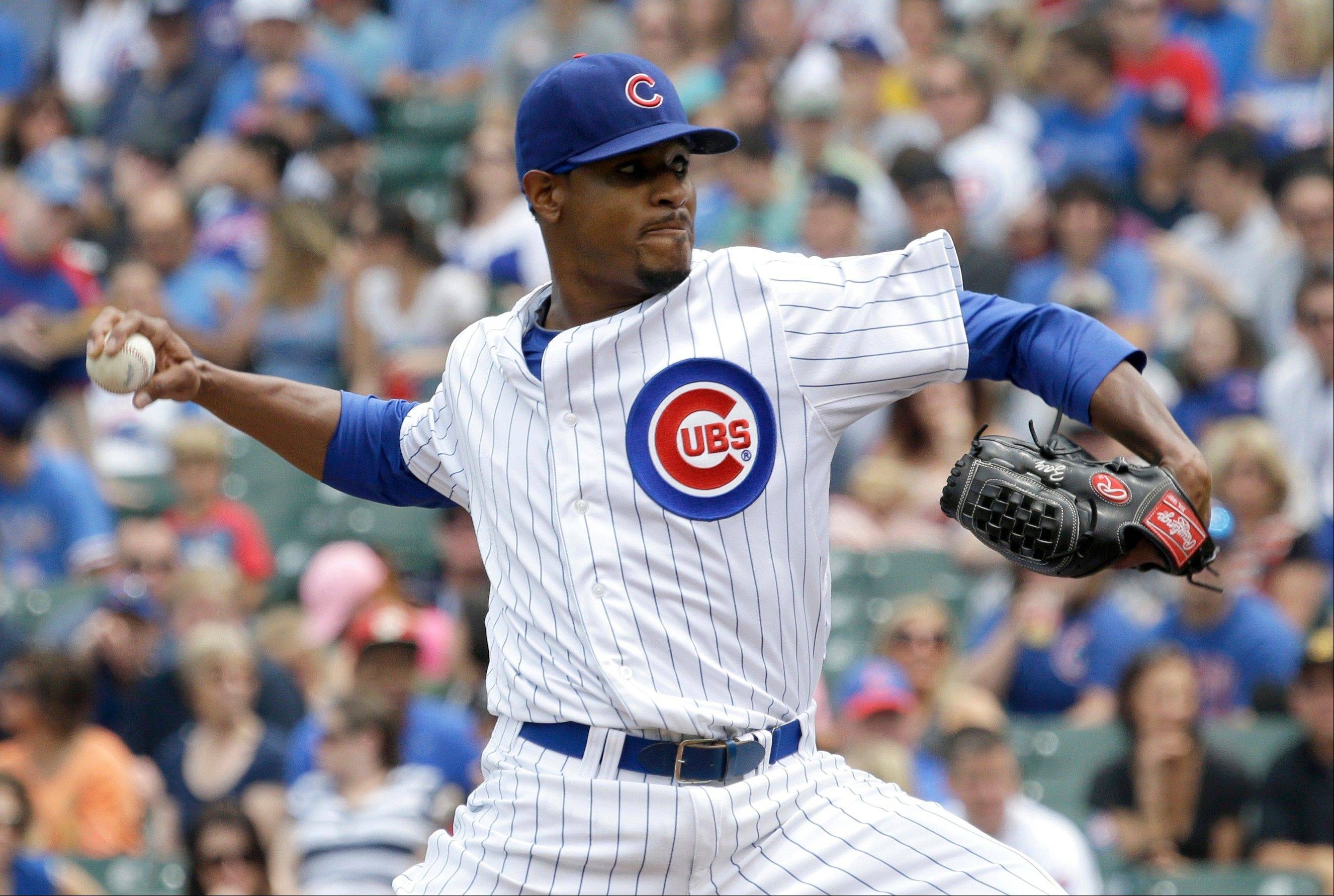 Cubs starter Edwin Jackson won his second decision against 8 losses and lowered his ERA from 6.29 to 5.76 by giving up 4 hits and 1 run against the Pirates at Wrigley Field on Sunday.