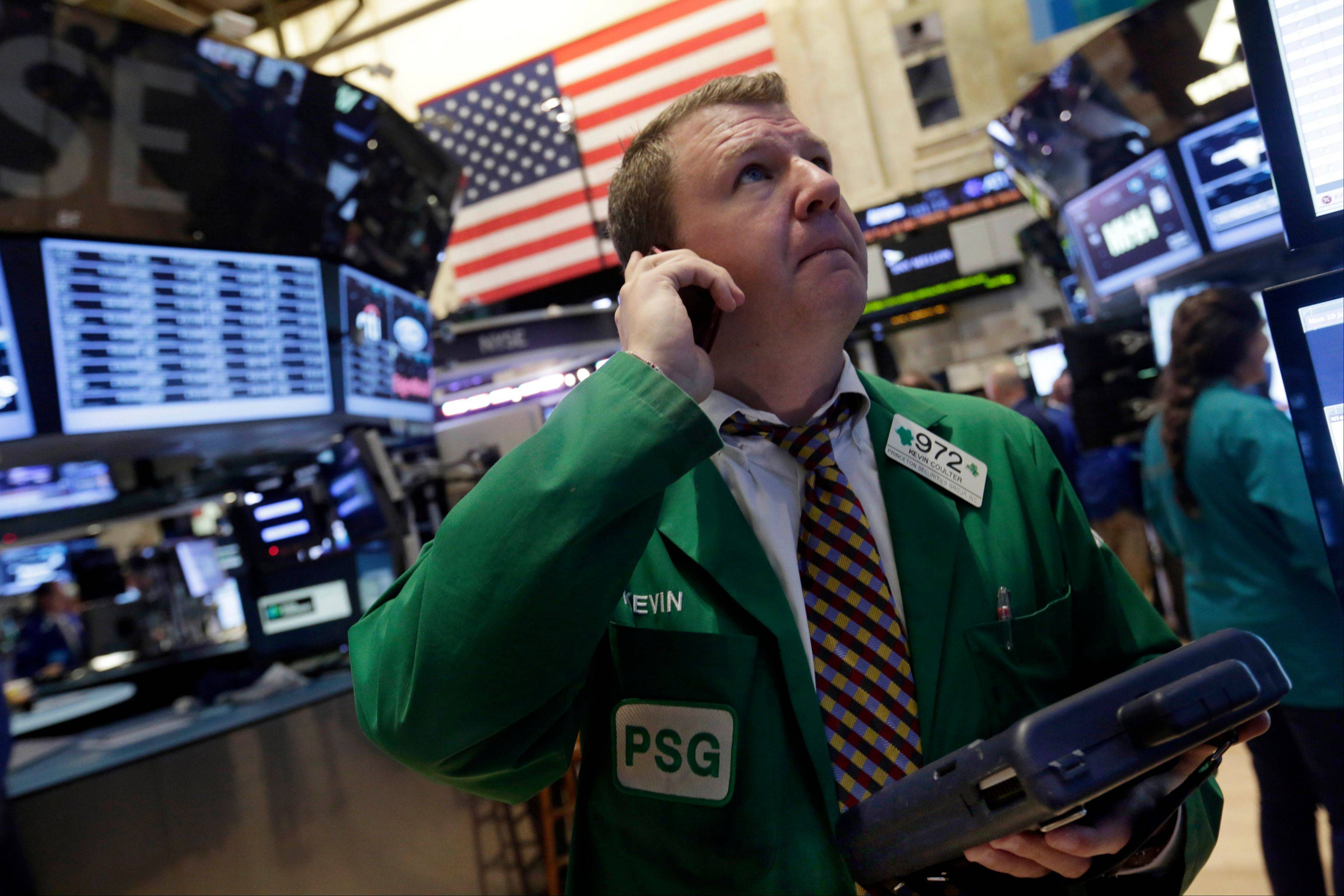 U.S. stocks declined, following the biggest two-day gain for the Standard & Poor�s 500 Index since January, as investors weighed S&P�s move to boost its outlook for America and Chinese data missed estimates.