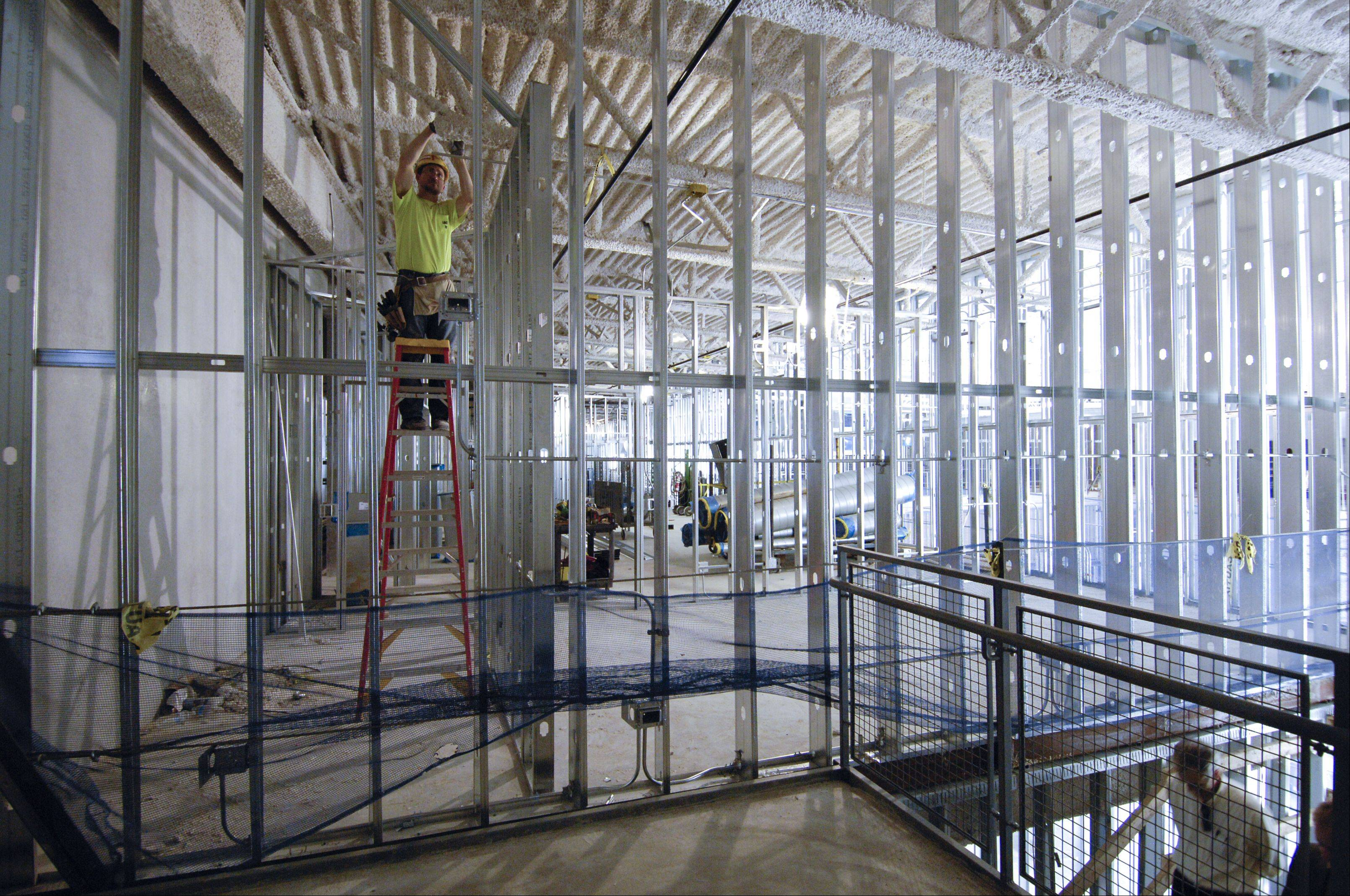 Interior construction continues at the future Universal Technical Institute campus in Lisle. More than 100 workers are assigned to the project, officials said.