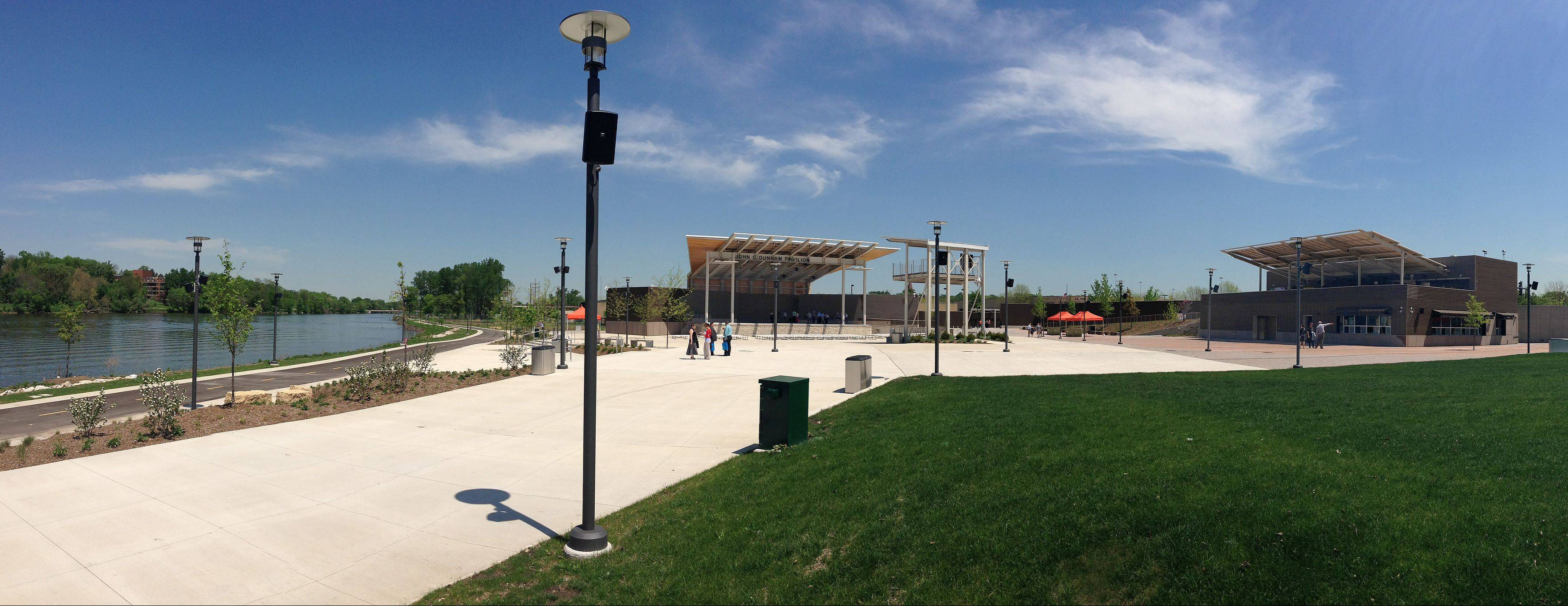 A view from the seating lawn at RiverEdge Park in Aurora takes in the Fox River, the performance stage, the lighting/sound tower and the concessions area. The $18.5 million Music Garden, which officials say closely mirrors original renderings designed beginning in 2007, hosts its grand opening June 14 during the first day of the 17th annual Blues on the Fox festival.