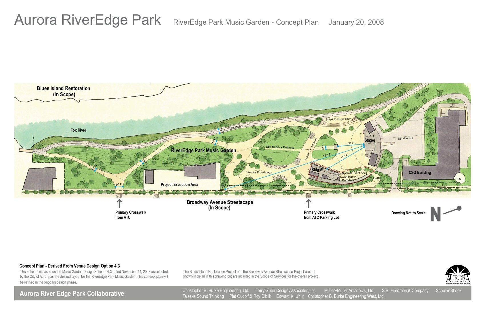 A 2008 rendering of RiverEdge Park shows the Music Garden's stage, concessions area, pathways and seating lawn much as the areas appear today, now that the venue is complete and ready for its grand opening Friday, June 14. The Music Garden is the first phase of a broader park development, which also includes a children's playground, a wetland educational center, a gathering space on the west side of the river and a pedestrian bridge.